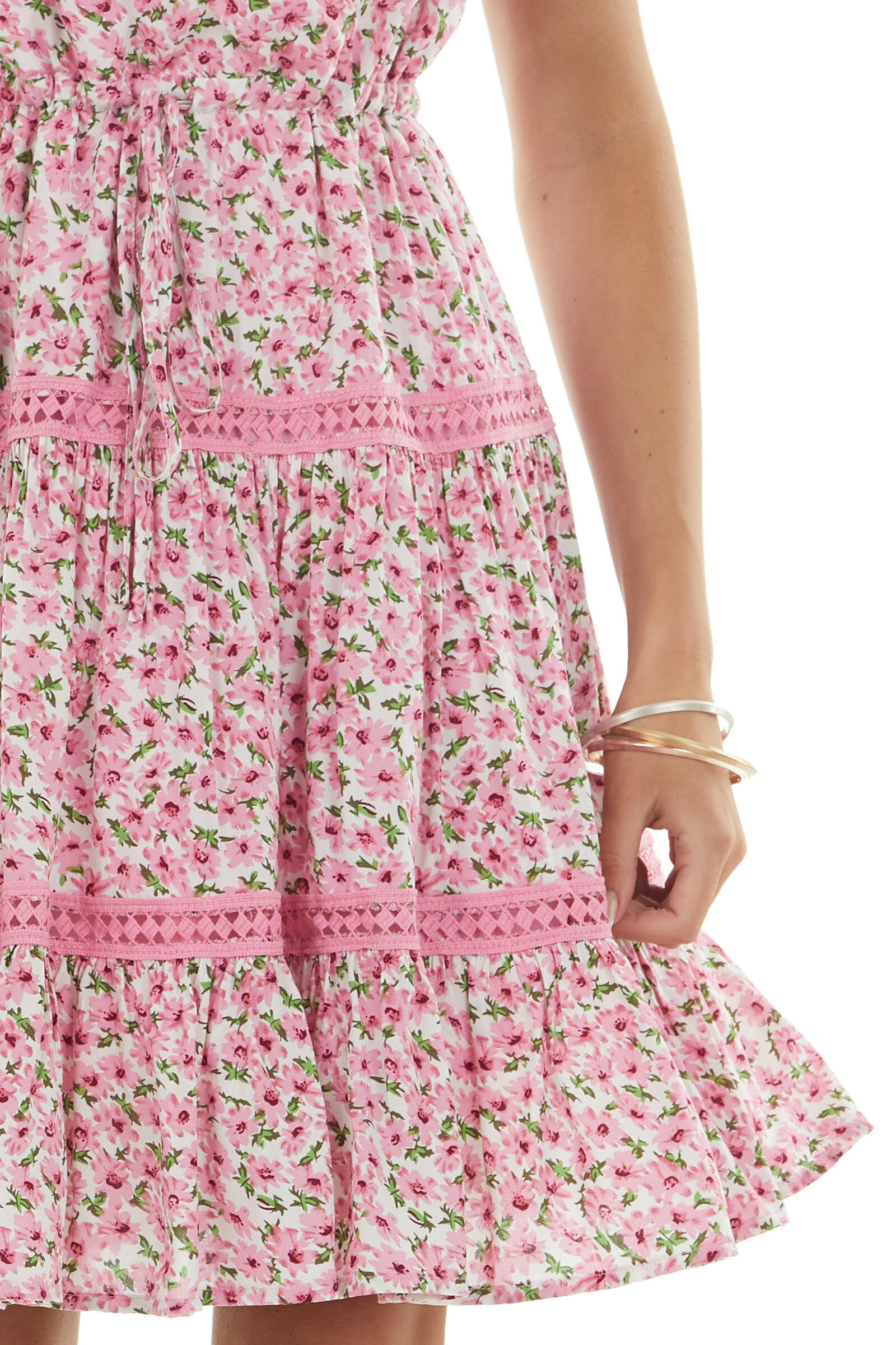 Carnation Floral and Lace Surplice Woven Dress