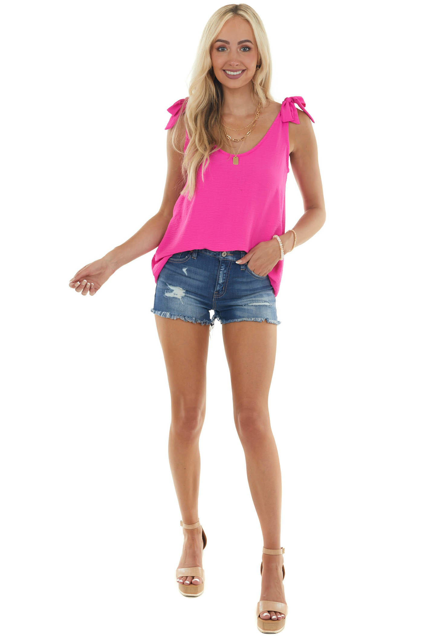Magenta Scoop Neck Blouse with Bow Straps
