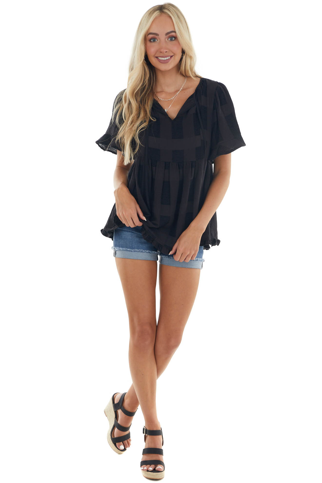 Black Textured Woven Top with Ruffle Detail
