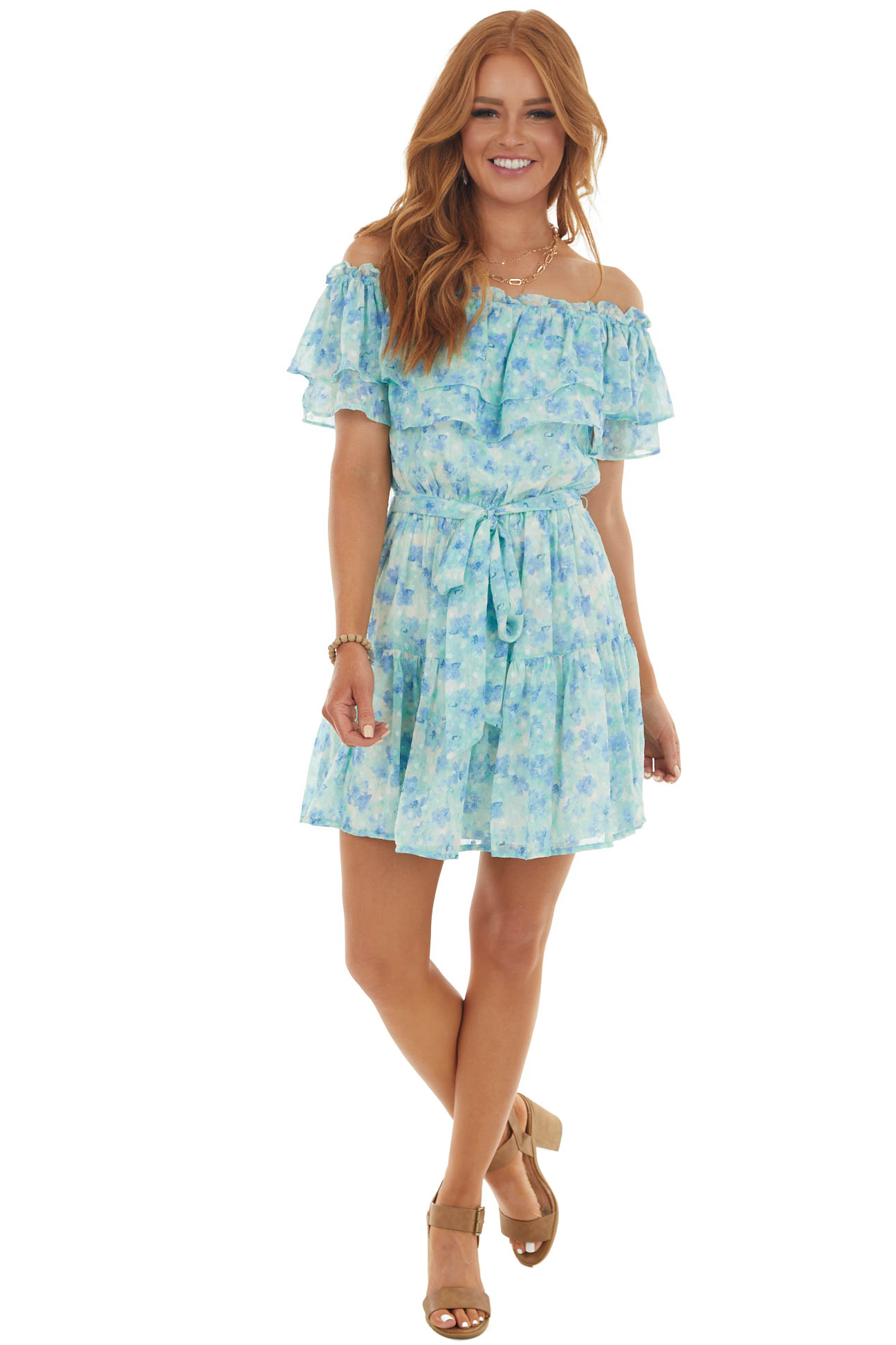Mint Floral Off Shoulder Ruffle Tiered Dress