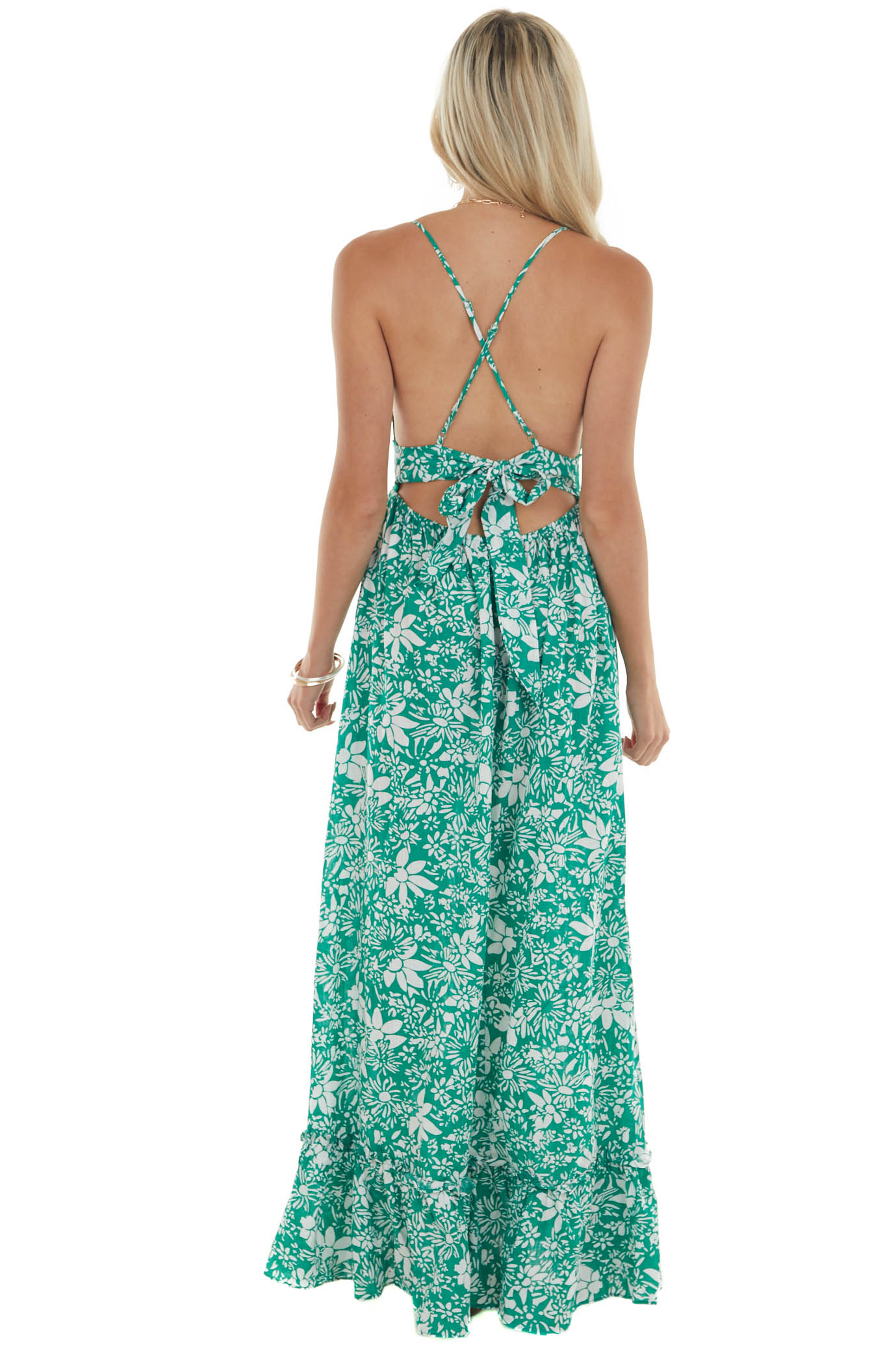 Jade Green Floral Dress with Crochet Lace