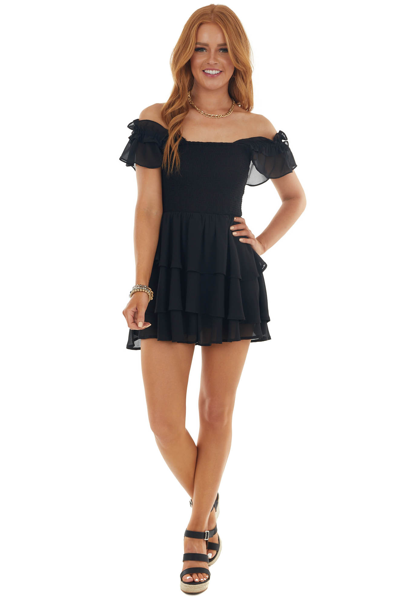 Black Smocked Tiered Ruffle Strap Romper