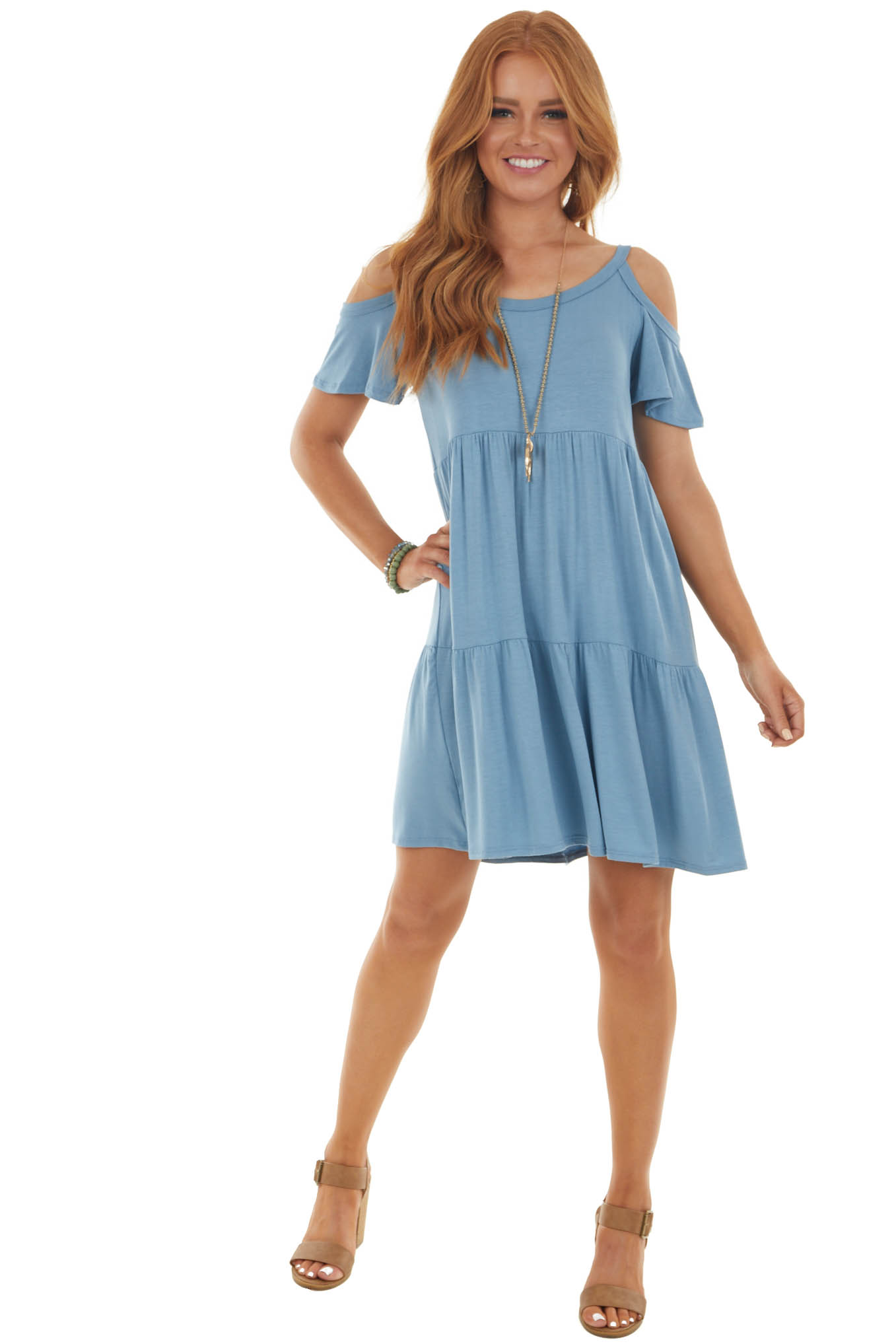 Powder Babydoll Tiered Knit Short Dress with Cold Shoulders