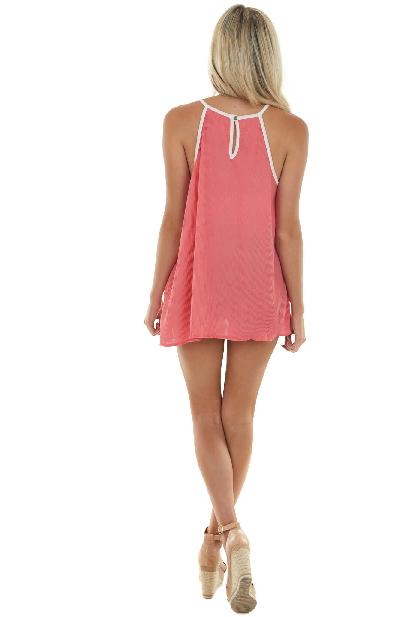 Coral Pleated Halter Neck Tank Top