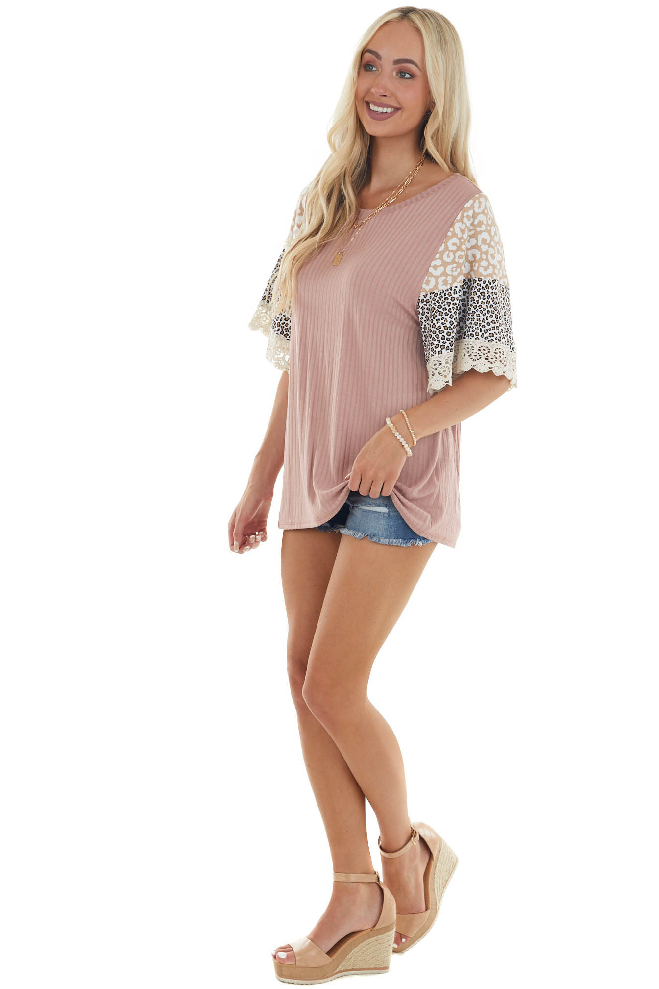 Mauve Stretchy Knit Multiprint Bell Sleeve Top