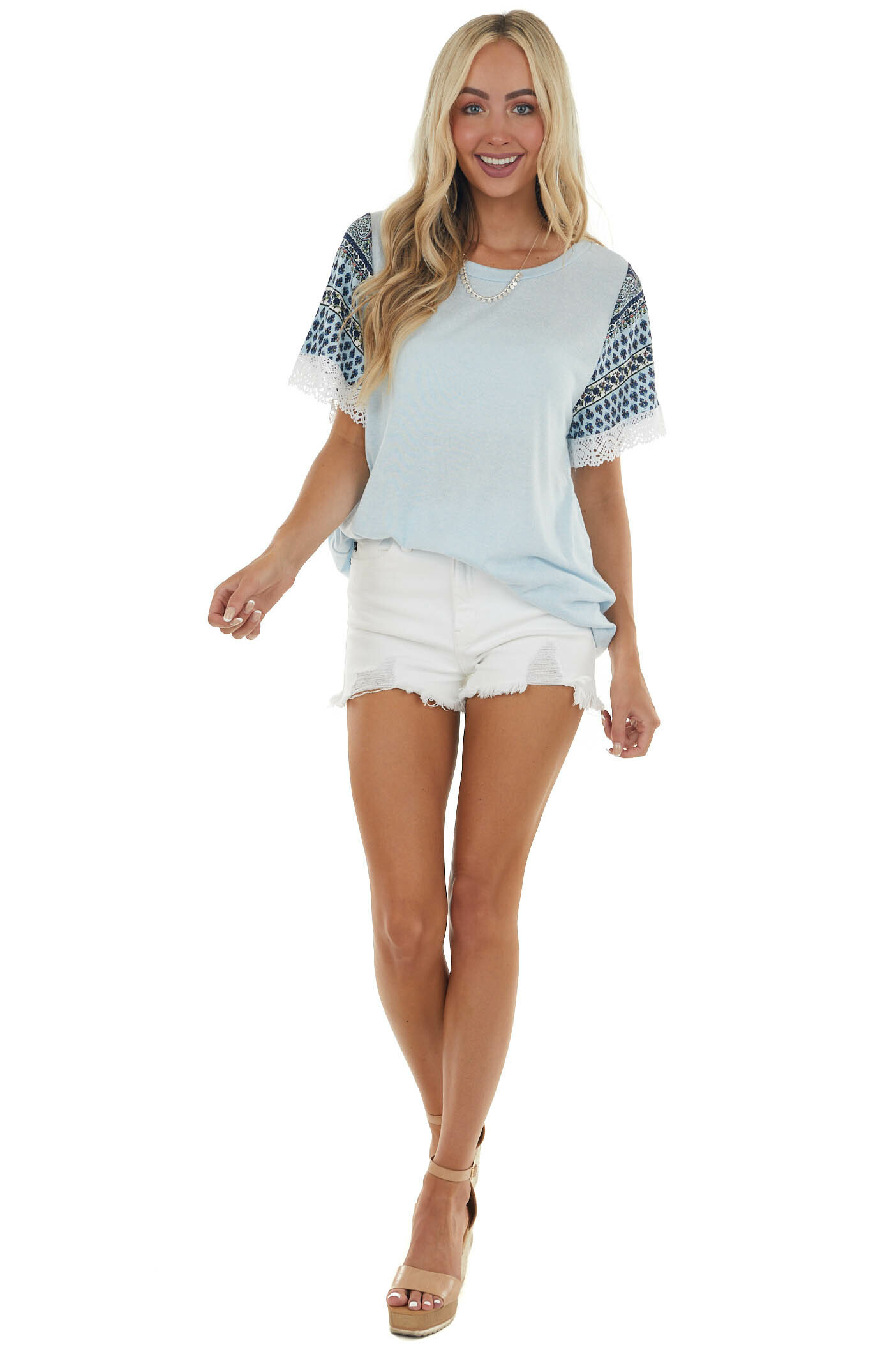 Ice Blue Contrasting Sleeve Knit Top with Lace