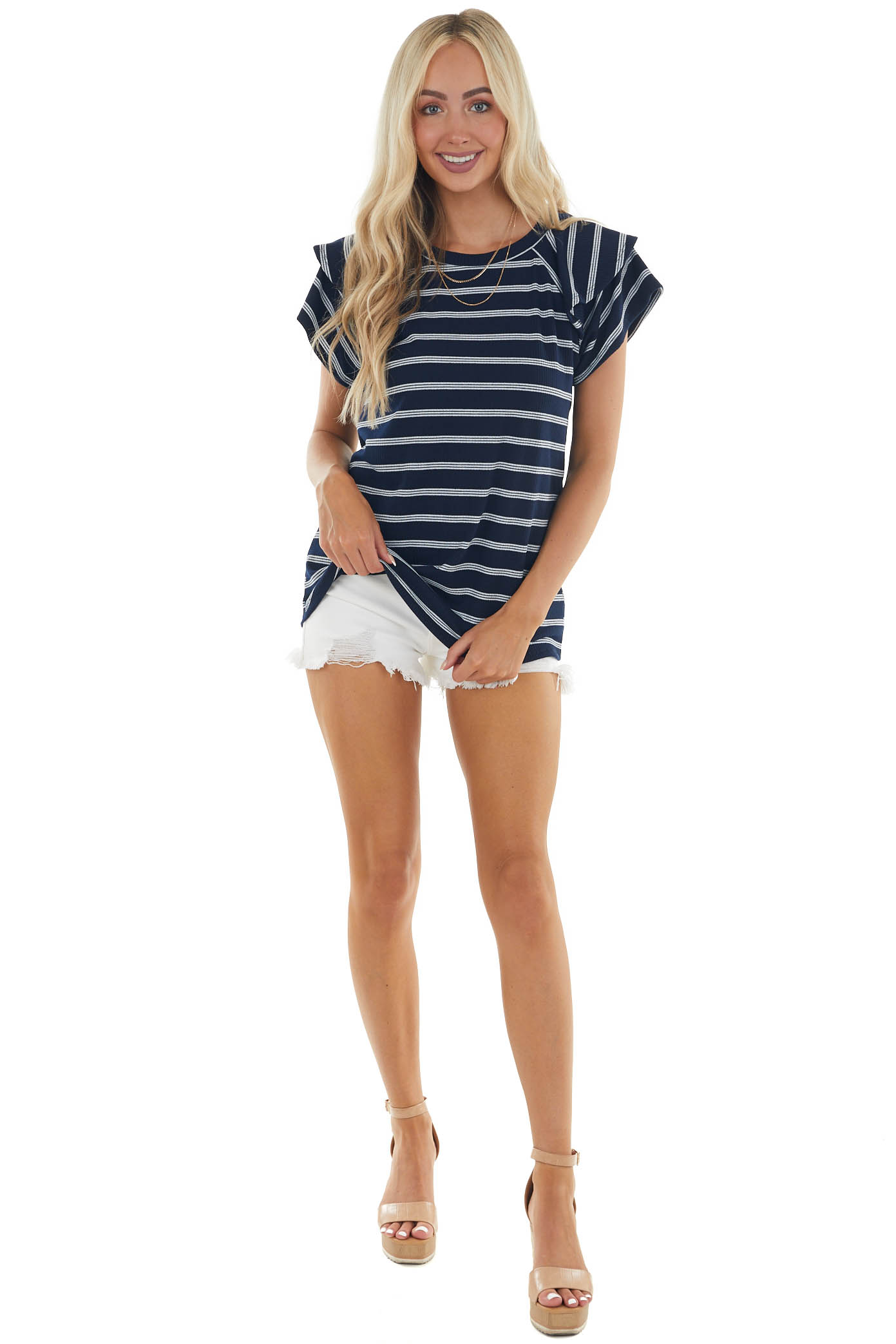 Dark Navy Striped Tiered Sleeve Ribbed Top
