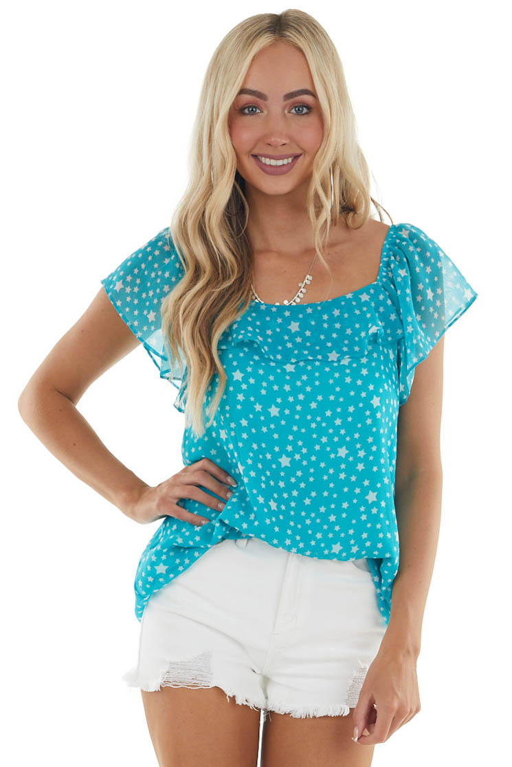 Turquoise and Ivory Star Print Blouse