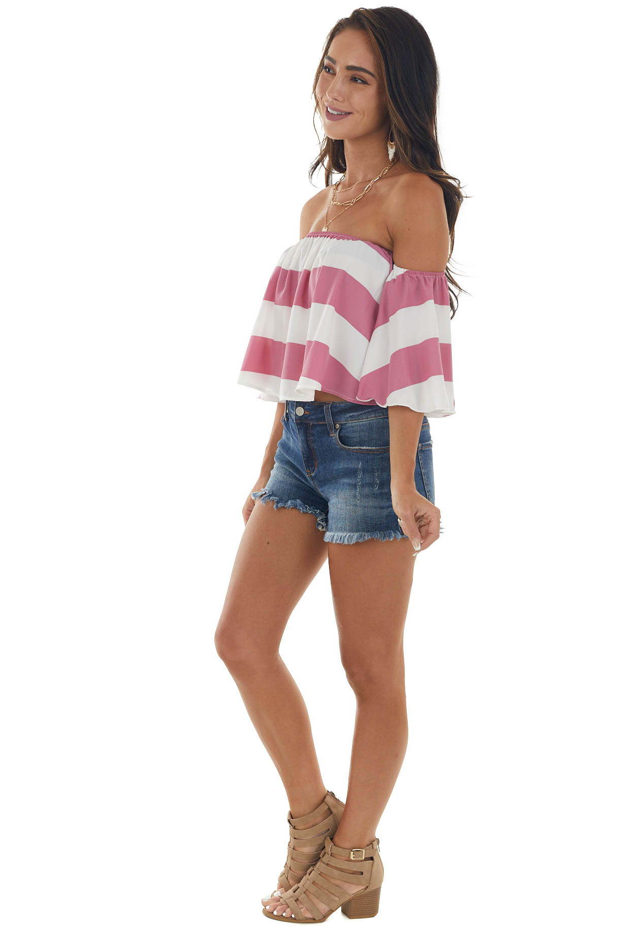 Thulian Pink Striped Off Shoulder Flowy Top