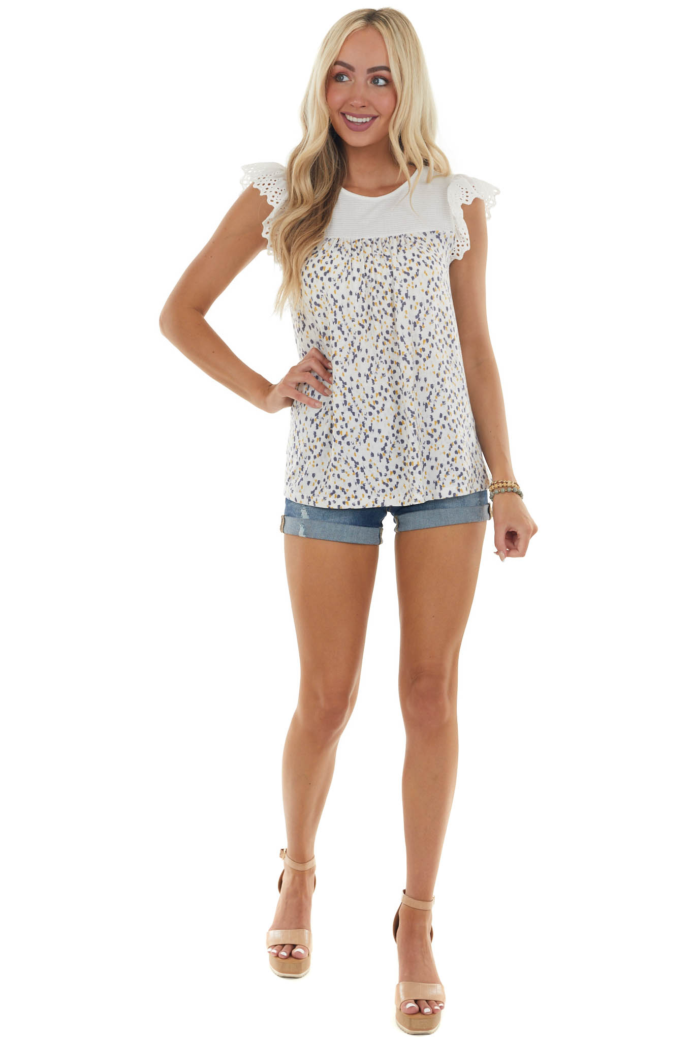 Off White Printed Lace Short Sleeve Top