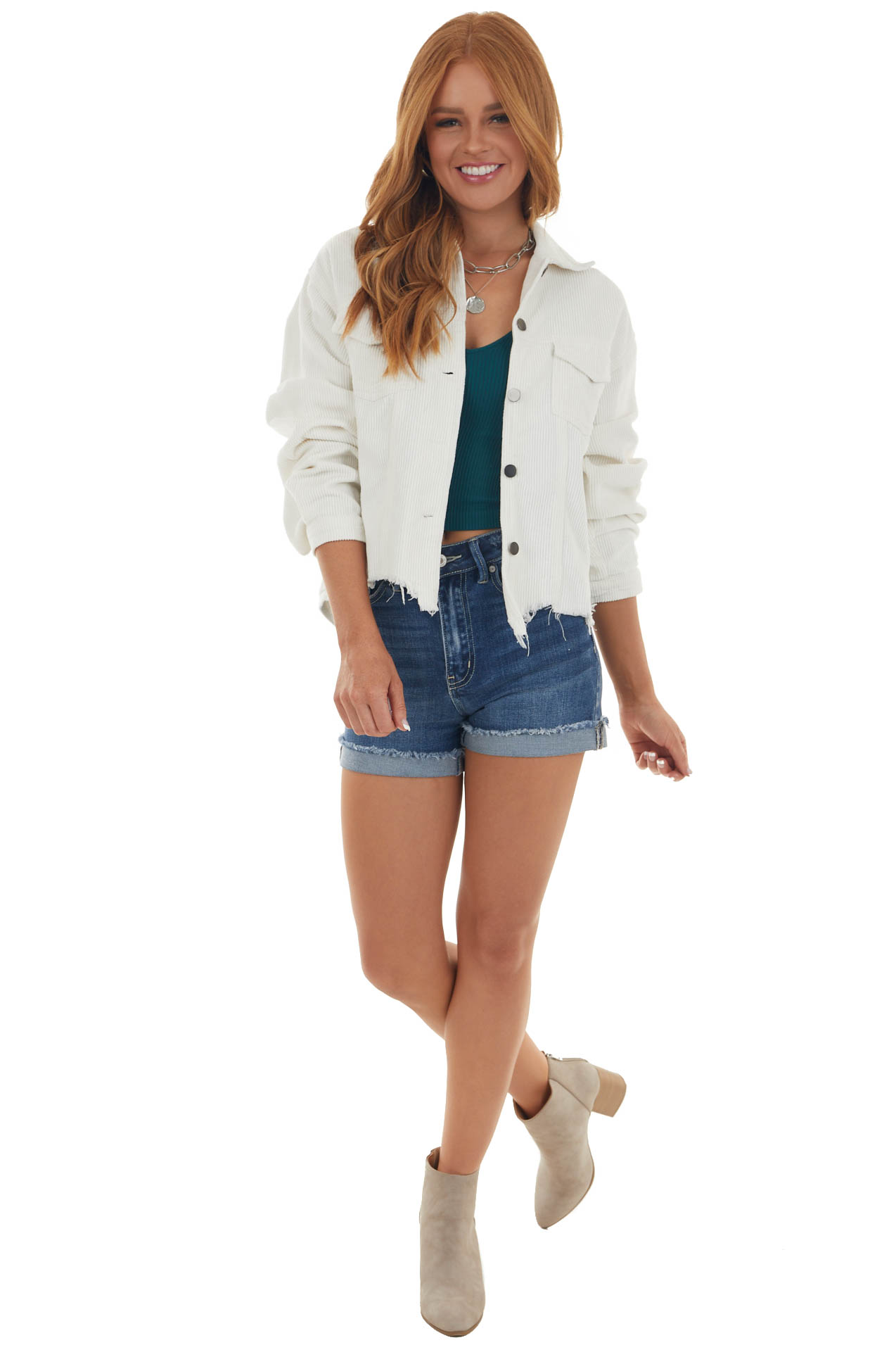 Ivory Distressed Button Up Corduroy Jacket
