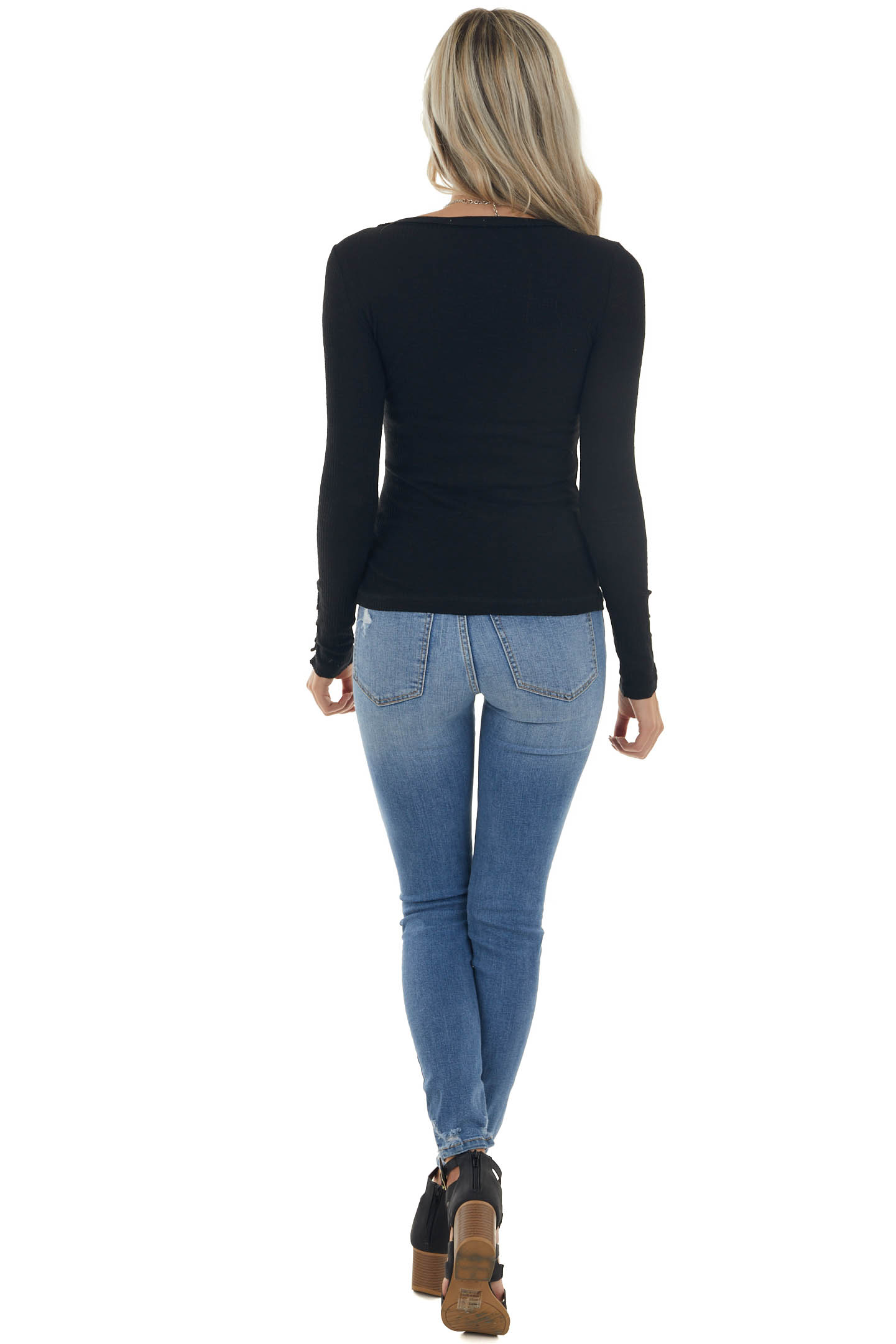 Black Ribbed Knit Button Cuff Henley Top