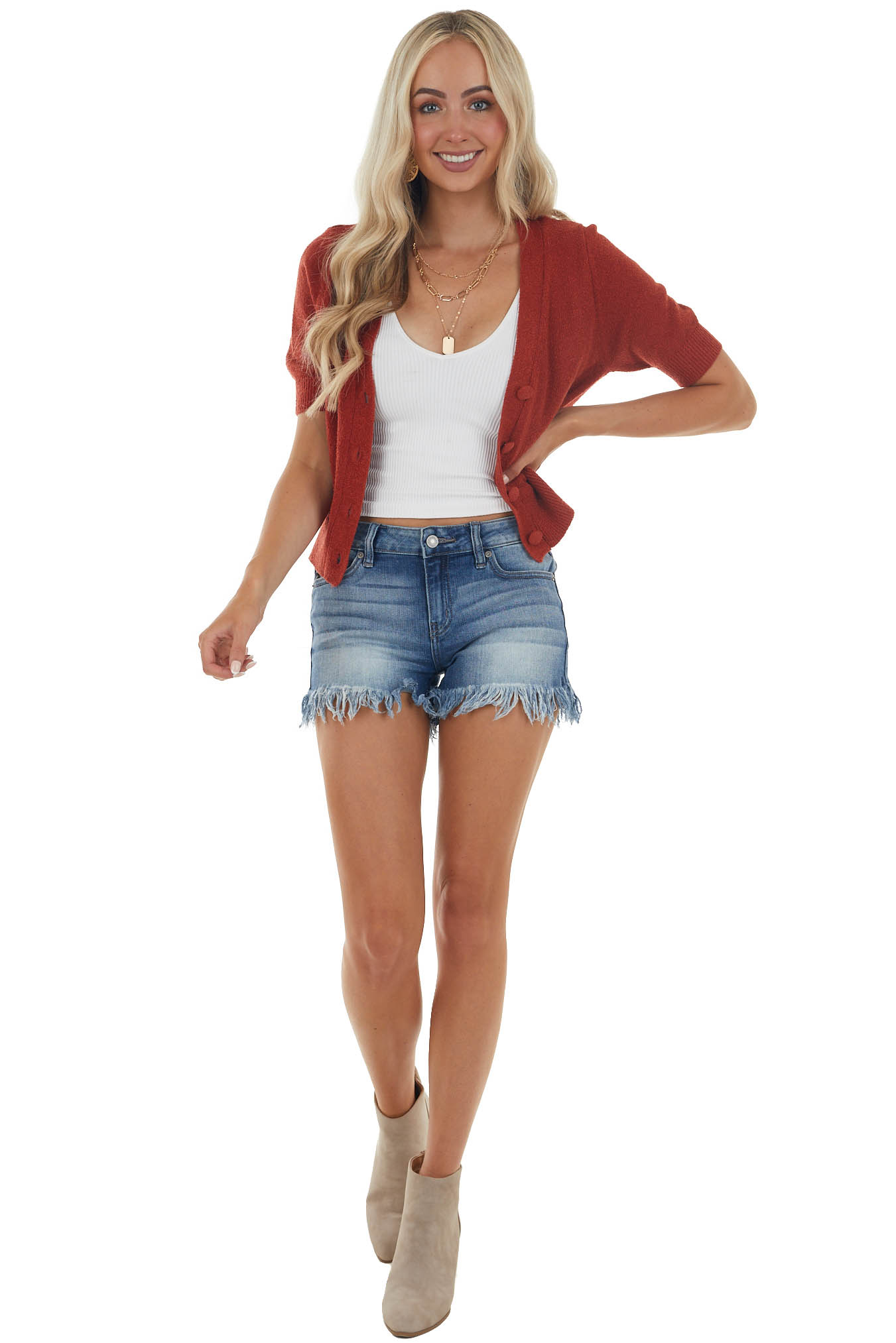 Rust Button Up Knit Sweater Top
