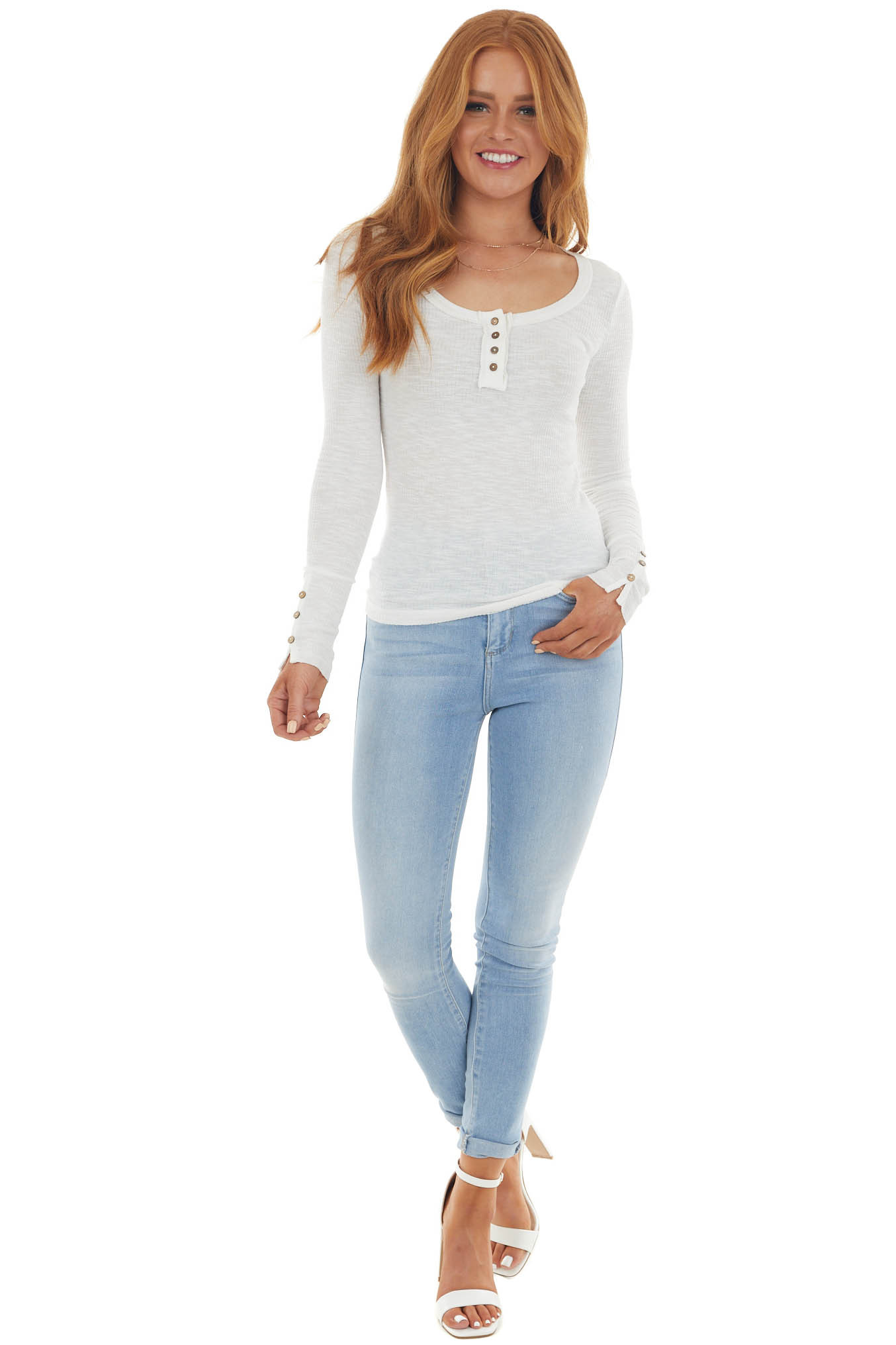 Ivory Ribbed Knit Button Cuff Henley Top