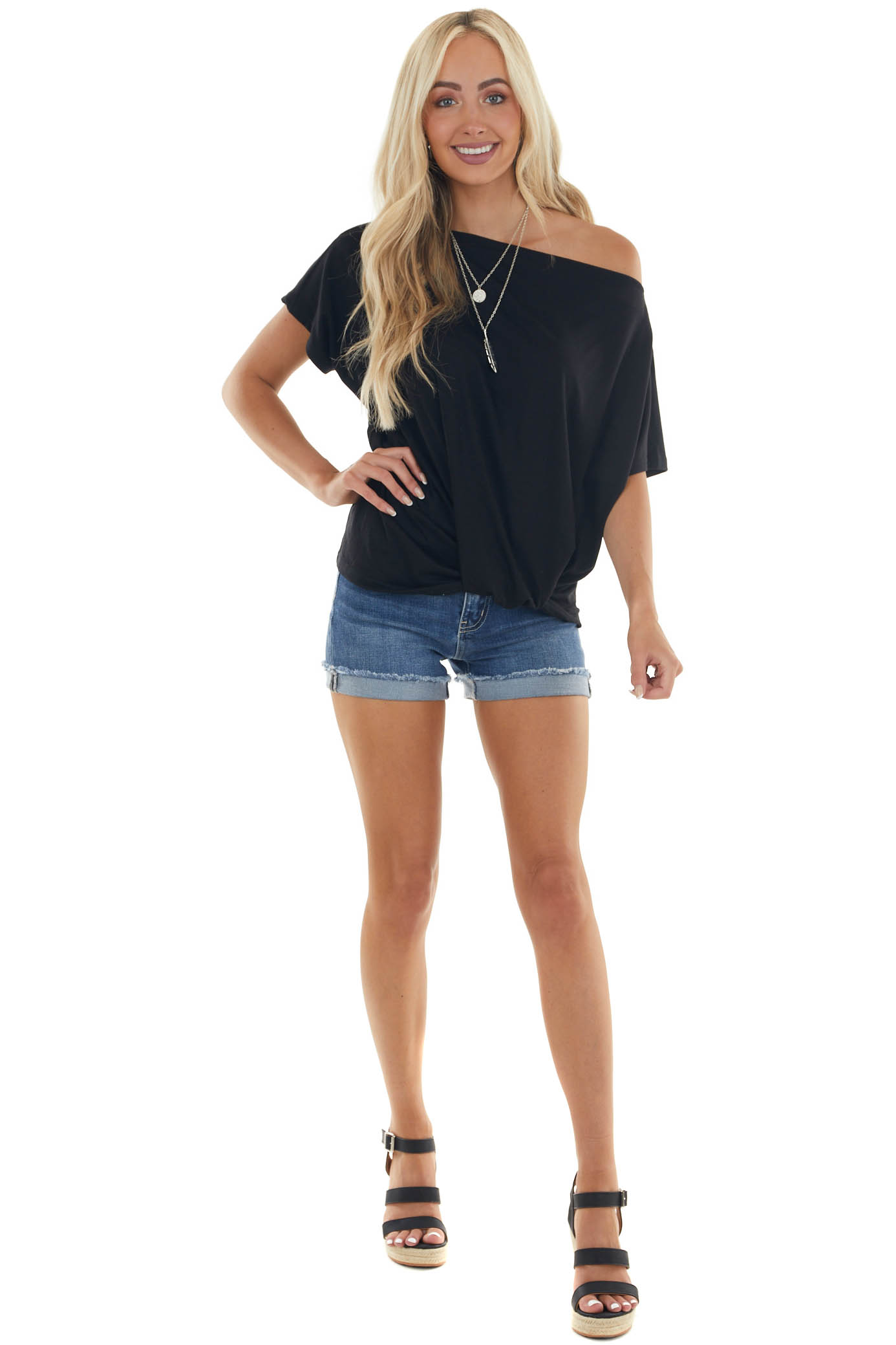 Black Gathered Front Short Sleeve Knit Top