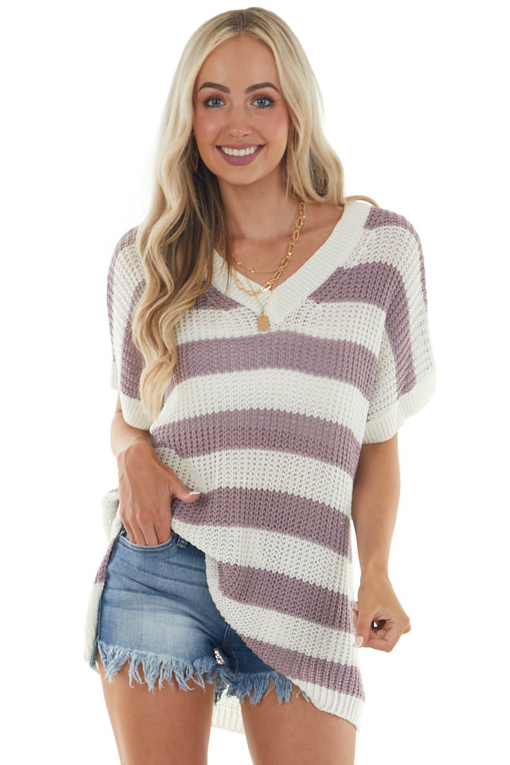 Off White and Mauve Striped Loose Knit Top