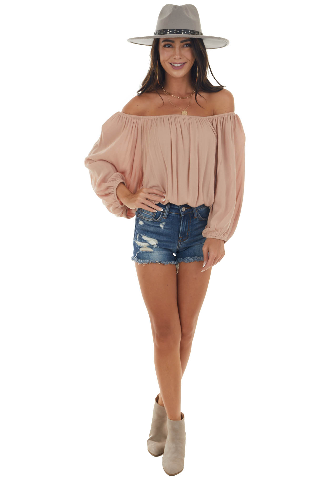 Rose Taupe Off Shoulder Long Bubble Sleeve Top