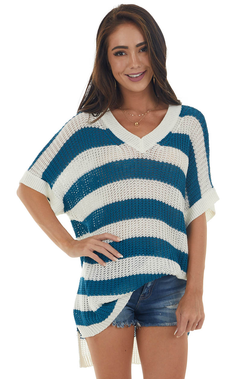 Off White and Sea Blue Striped Loose Knit Top