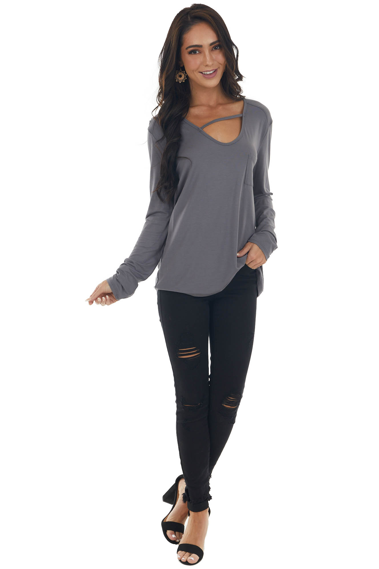 Charcoal Long Sleeve V Neck Cut Out Knit Top