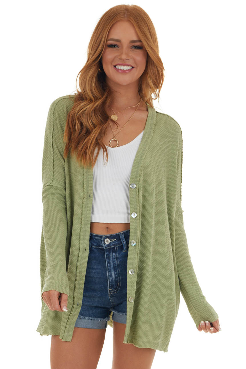 Pistachio Button Up Knit Cardigan with Pockets