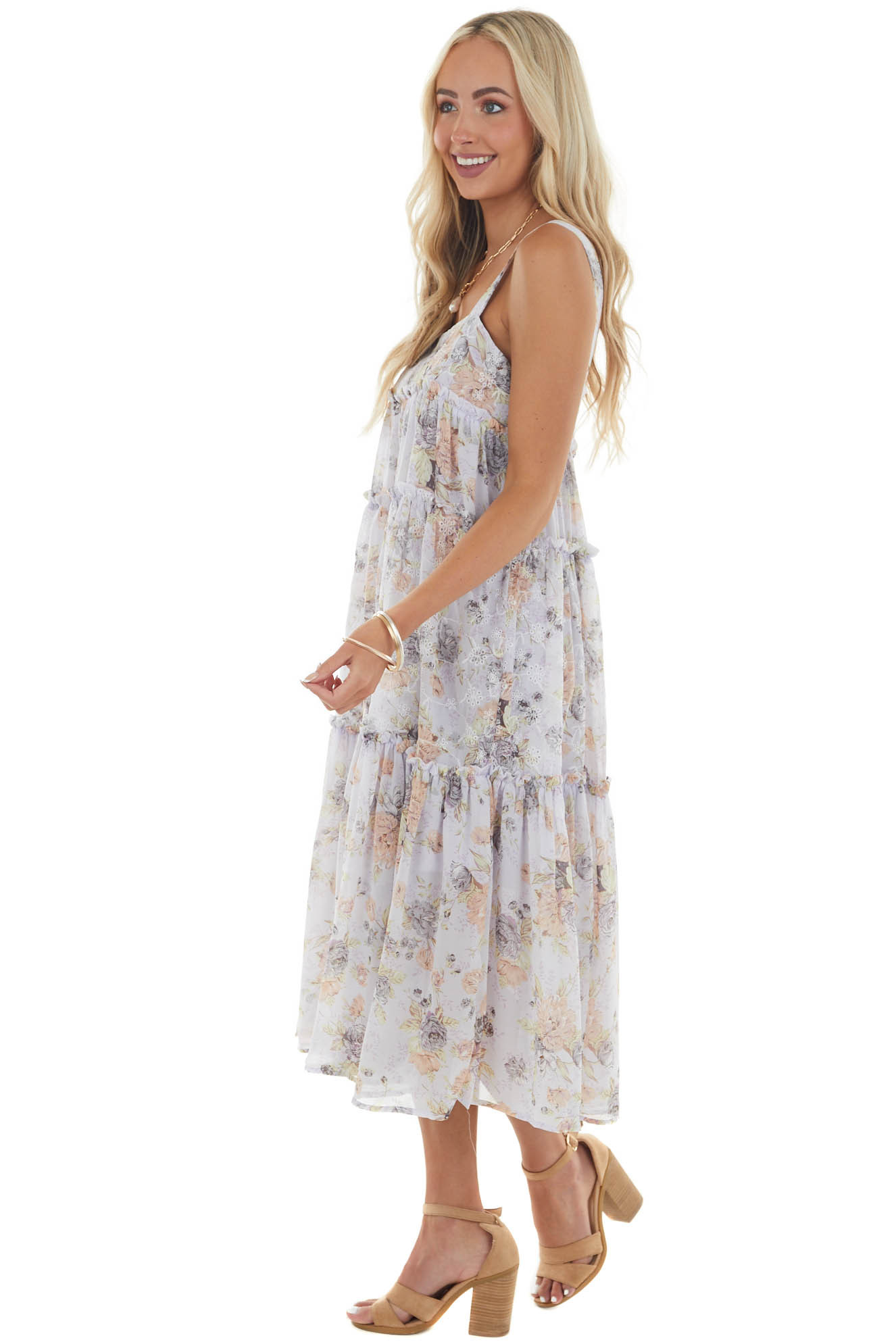 Iris Floral Print Eyelet Lace Tiered Dress