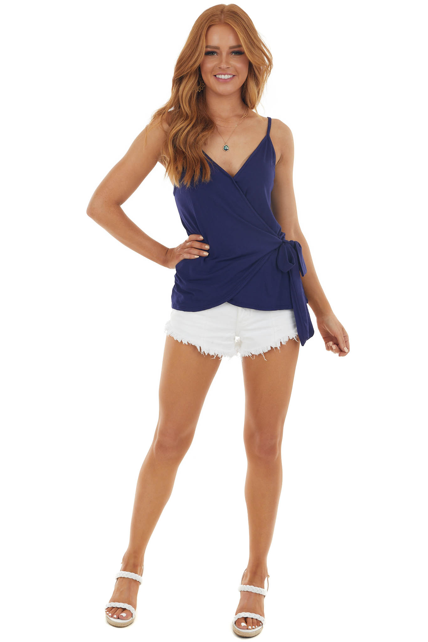 Navy Wrapped V Neck Knit Tank Top with Tie