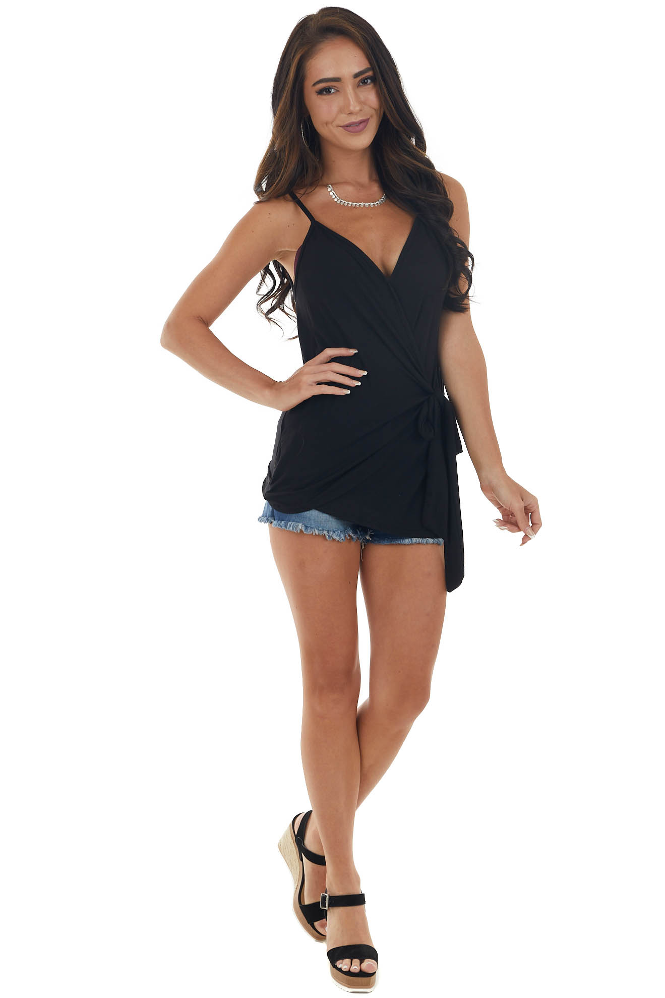 Black Wrapped V Neck Knit Tank Top with Tie