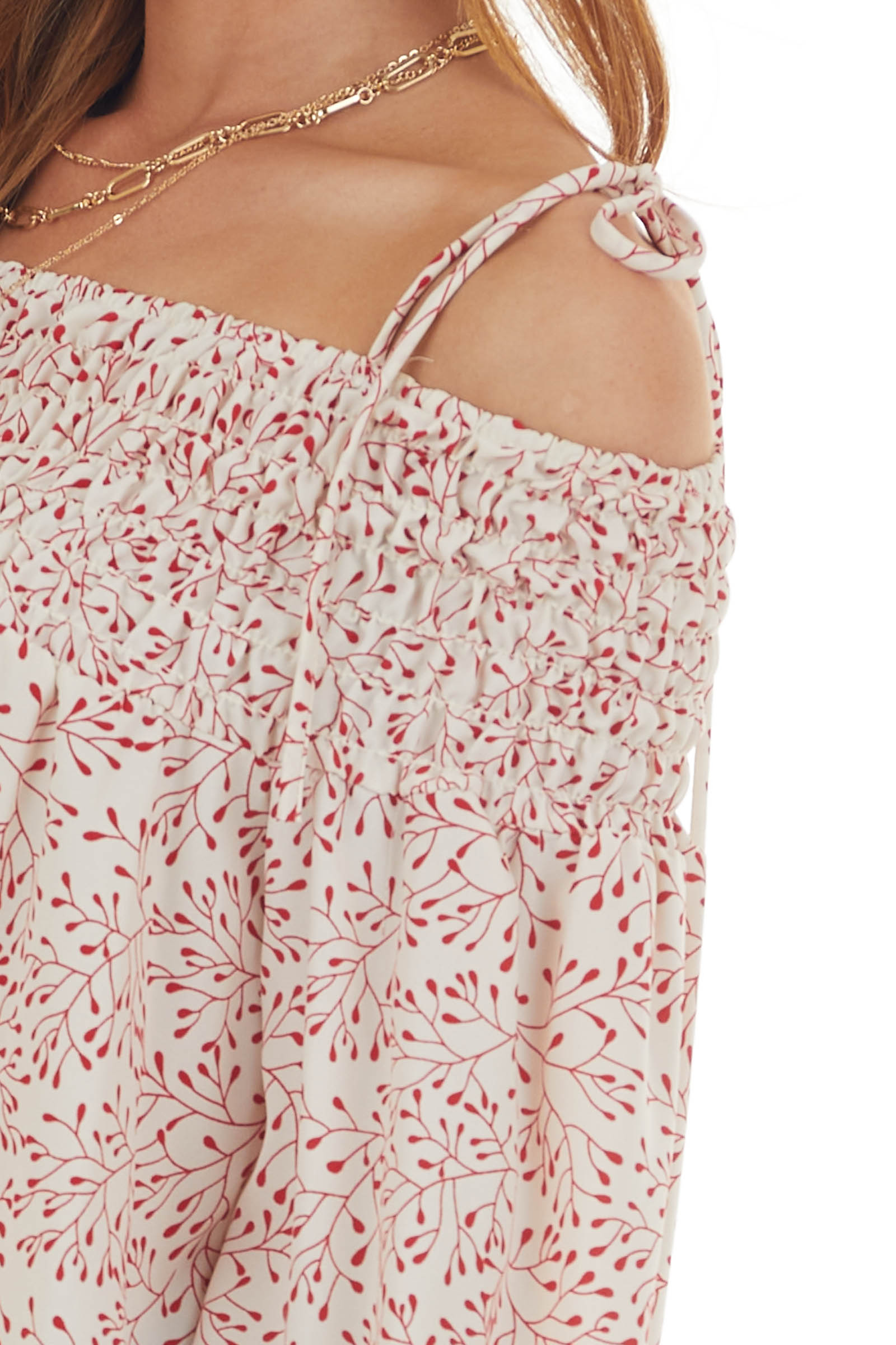 Cherry and Cream Printed Cold Shoulder Top