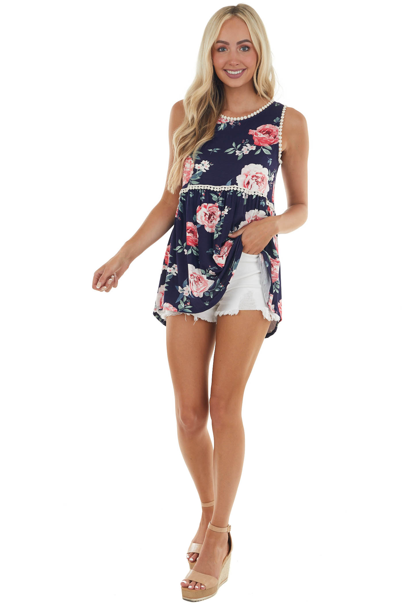 Navy Floral Print Top with Circle Lace Trim