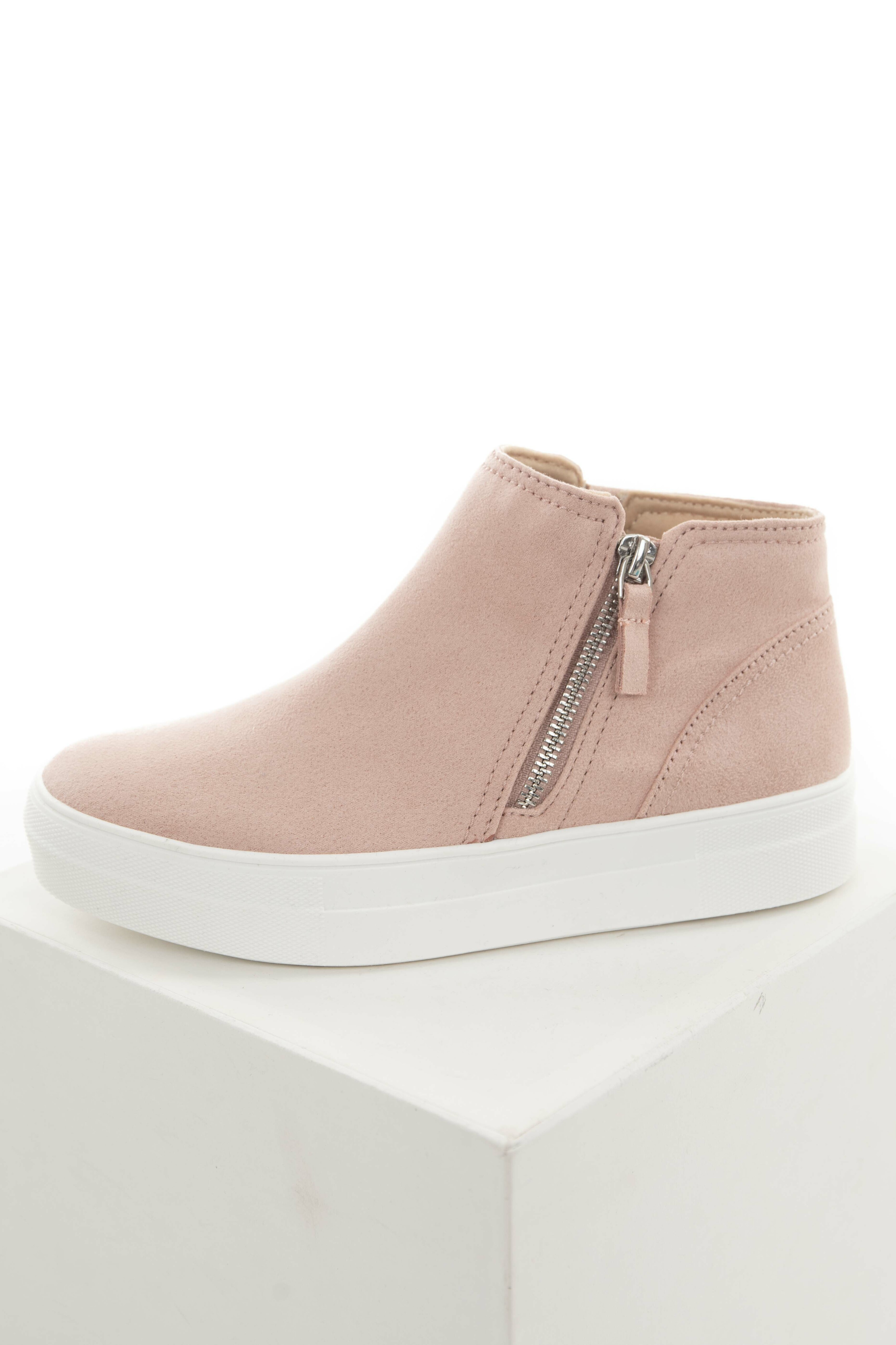 Blush Faux Suede Platform High Top Sneakers
