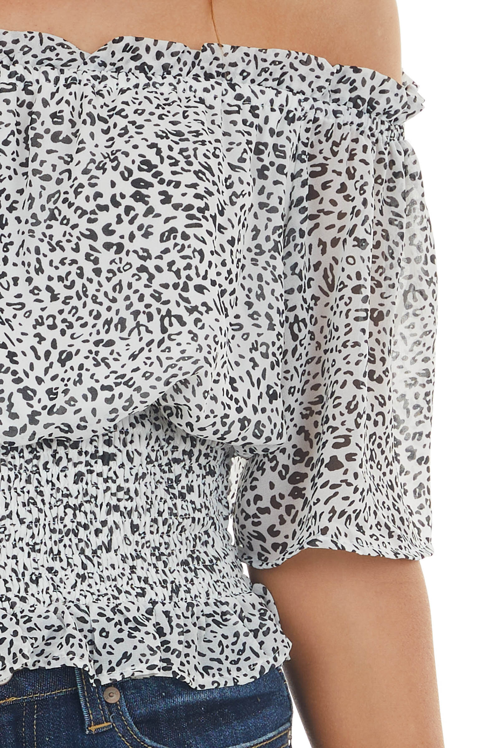 Black and Pearl Smocked Leopard Print Top