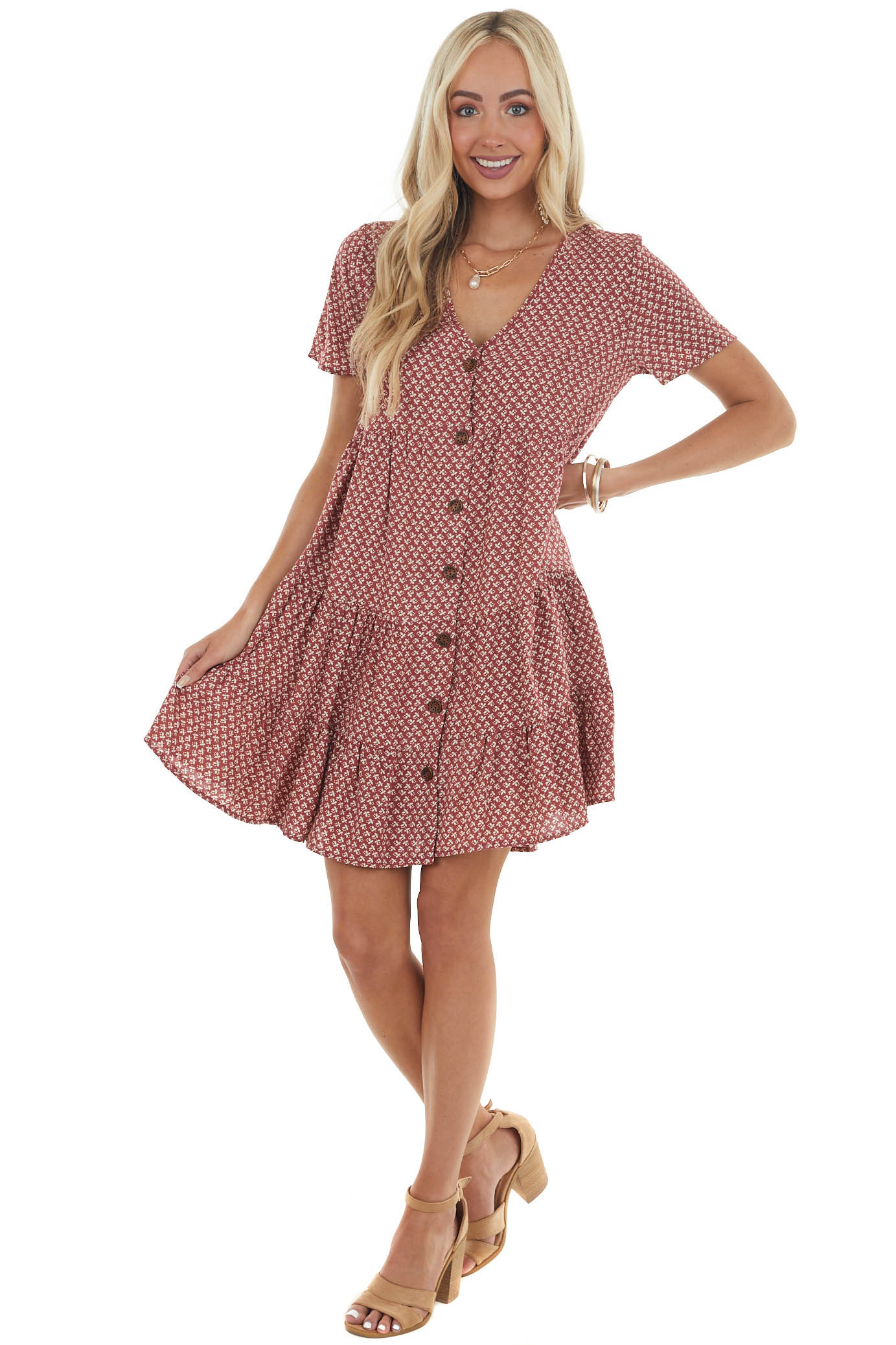 Cherry and Cream Ditsy Floral Button Up Dress