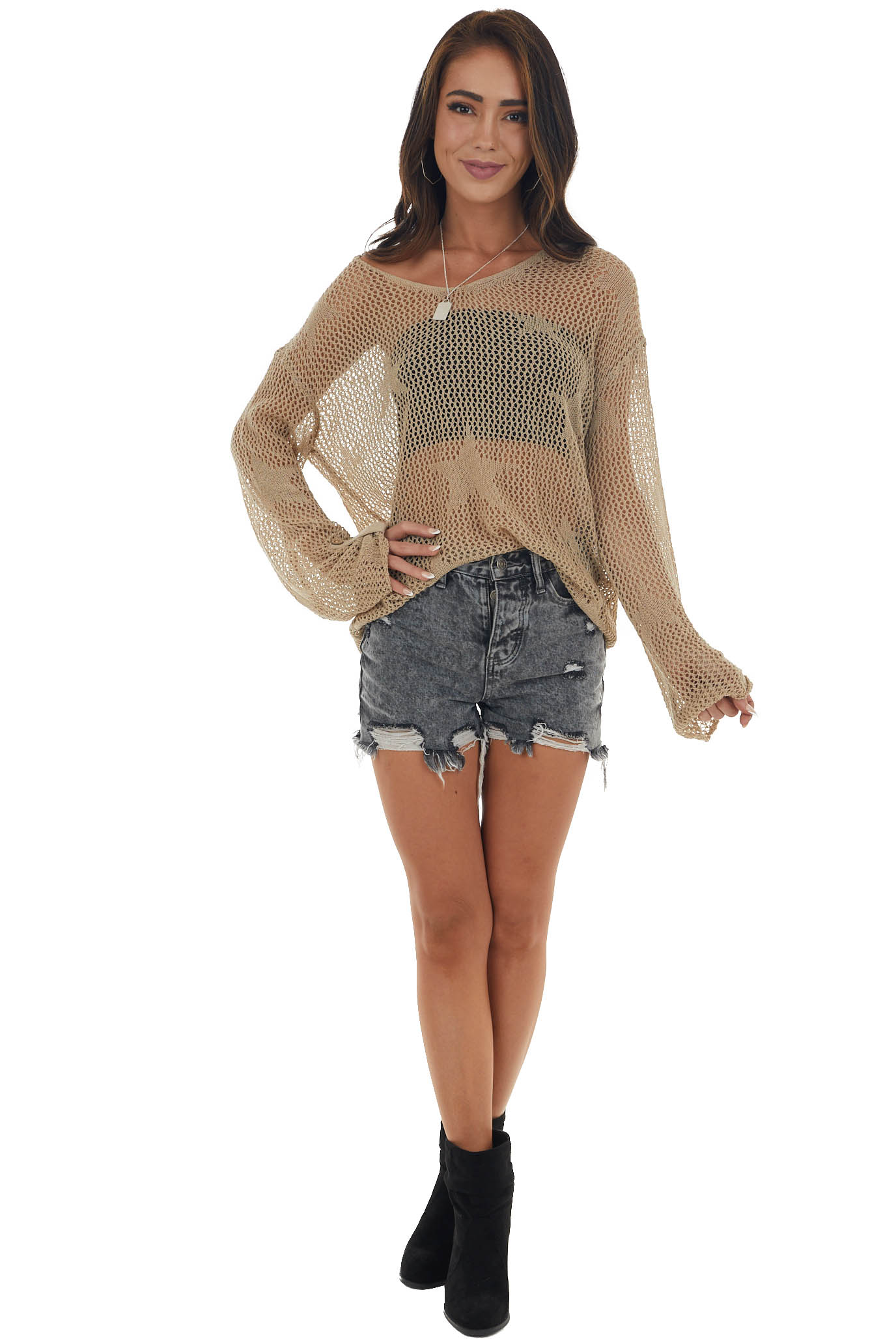 Dark Latte Loose Knit Sweater with Star Detail