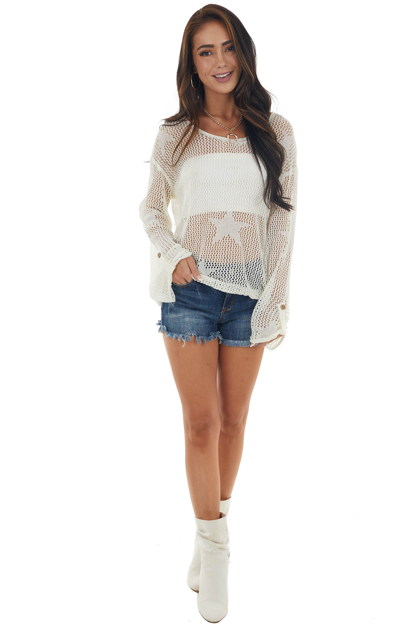 Ivory Loose Knit Sweater with Star Detail