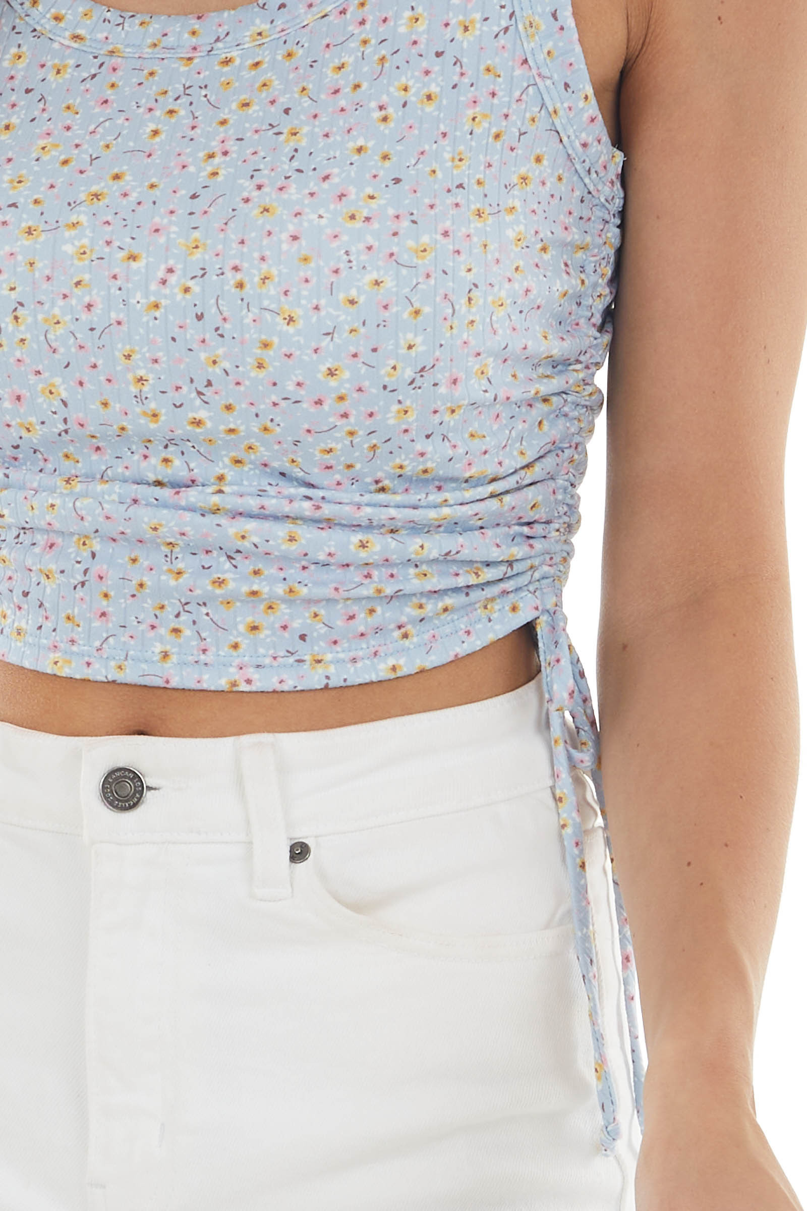 Baby Blue Floral Print Tank Top
