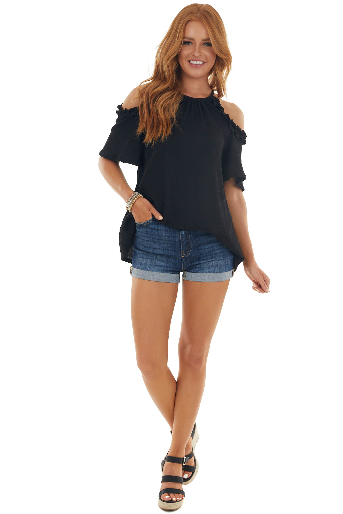 Black Cold Shoulder Top with Ruffle Details