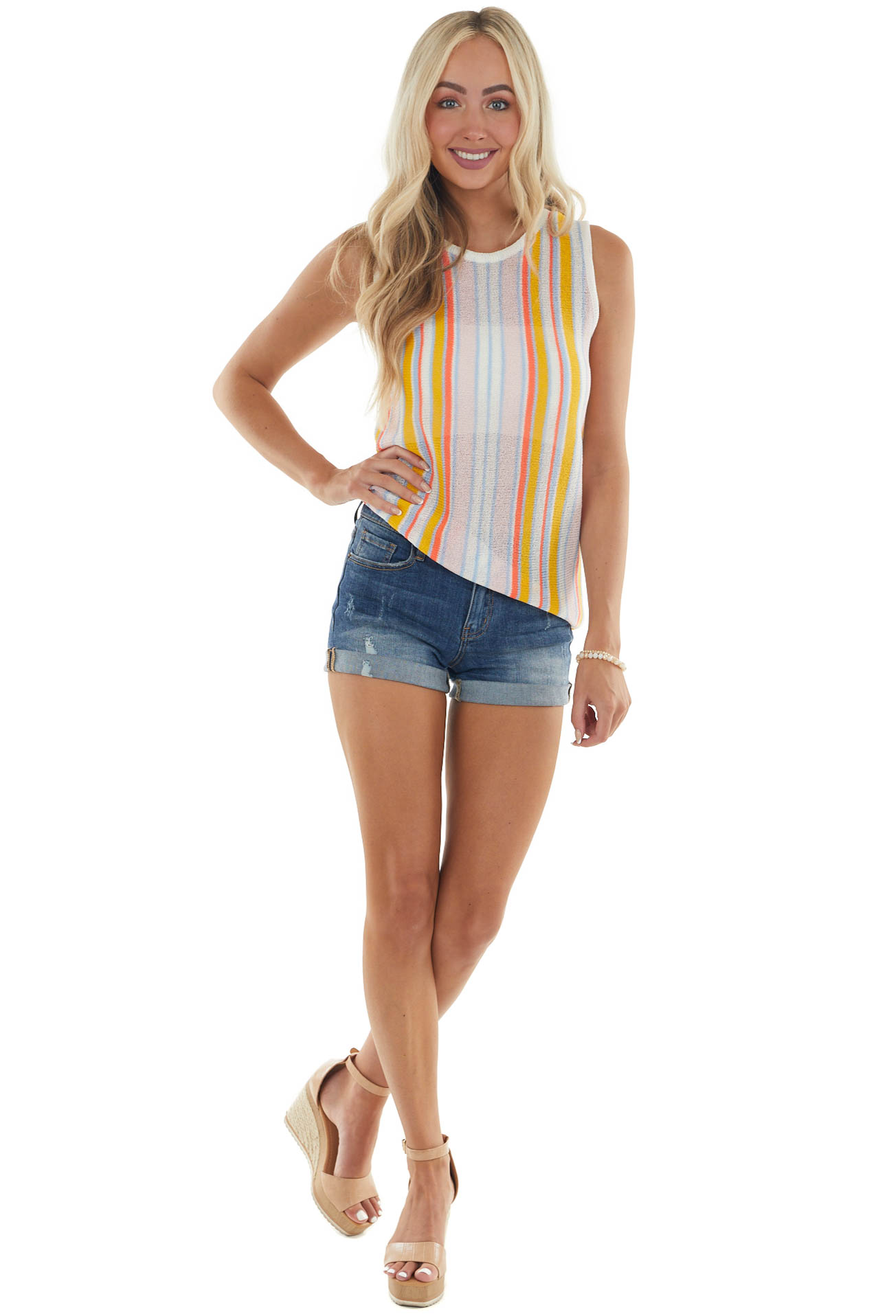 Rich Amber Multicolor Striped Loose Knit Tank
