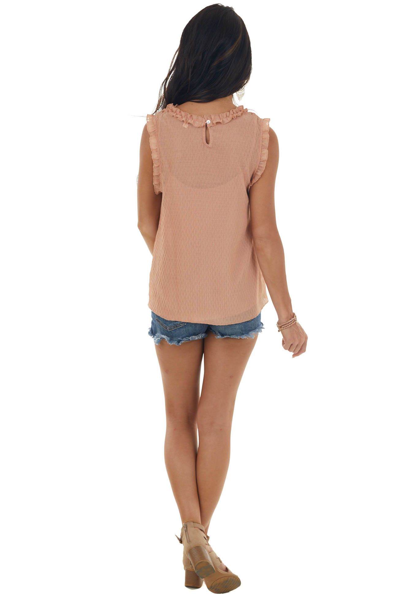 Apricot Textured Sleeveless Woven Top