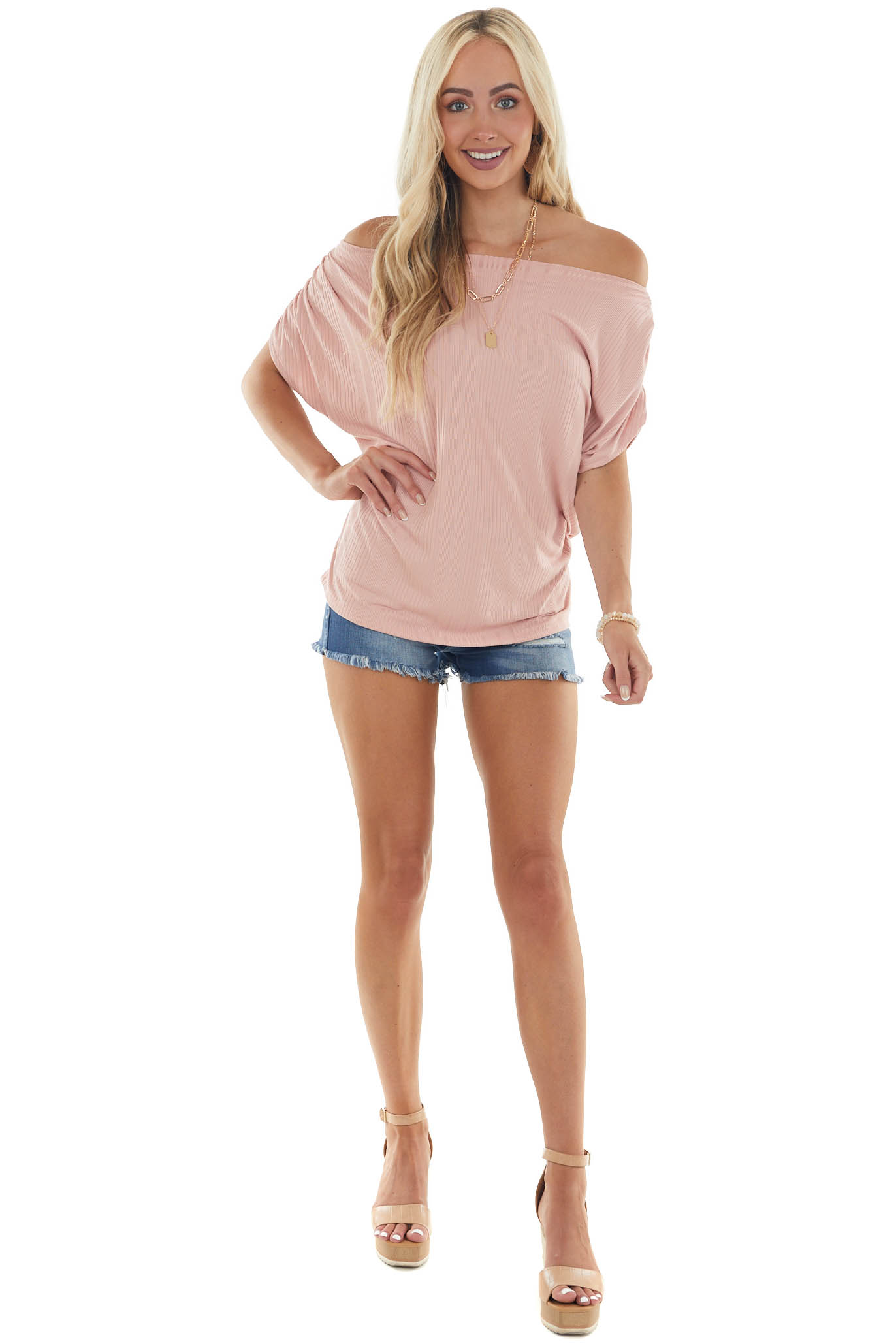 Tea Rose Boat Neck Ruched Sleeve Knit Top