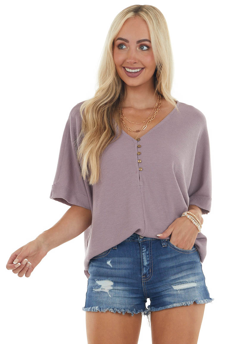 Mauve Thermal Knit Button Up Half Sleeve Top