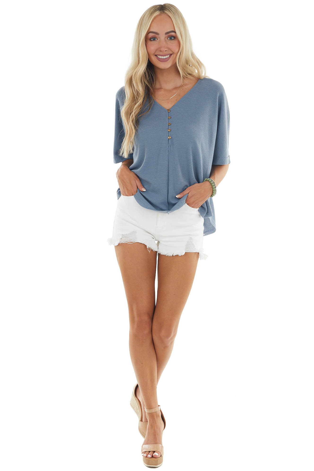 Ocean Thermal Knit Button Up Half Sleeve Top