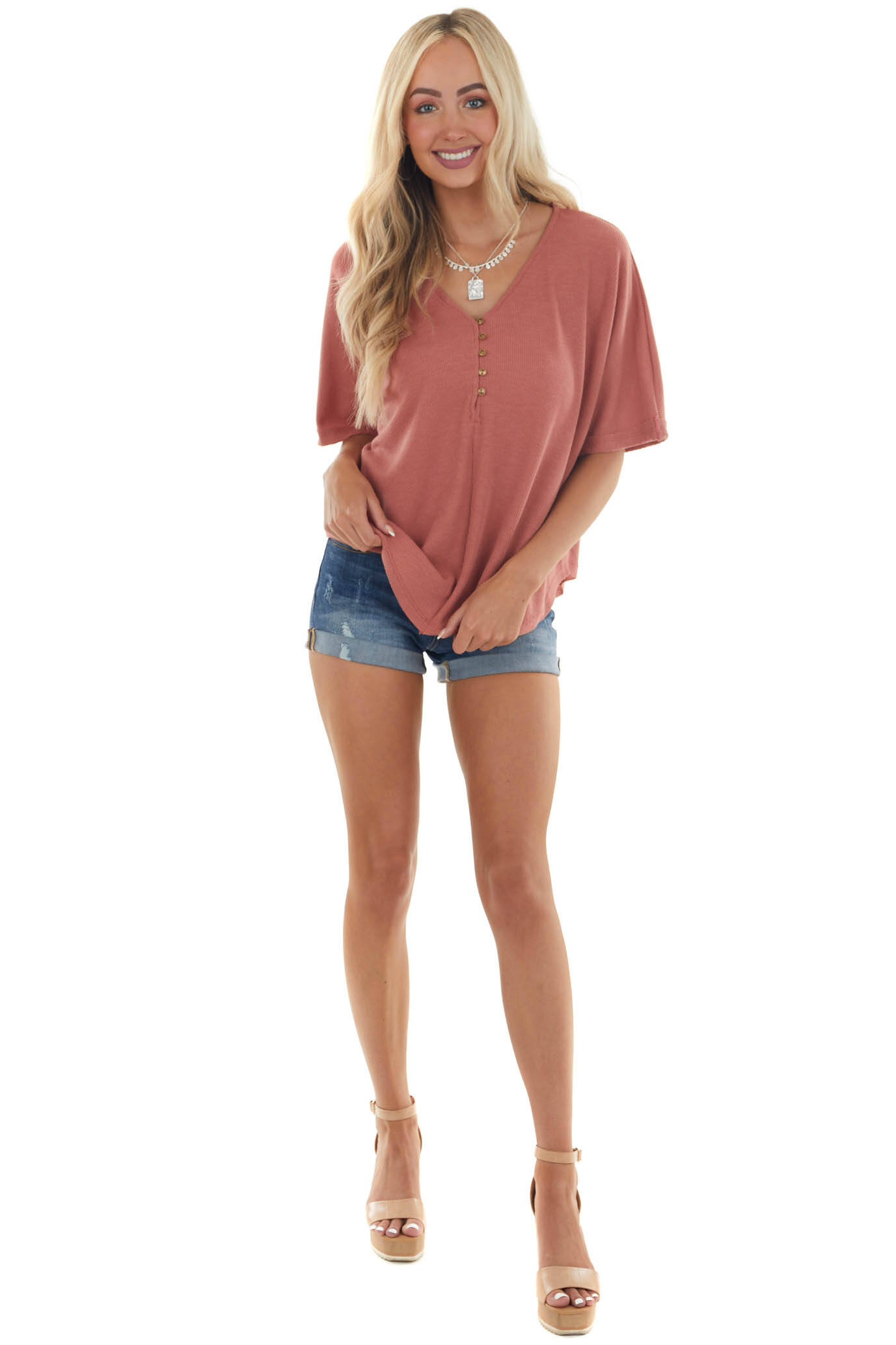 Tawny Thermal Knit Button Up Half Sleeve Top