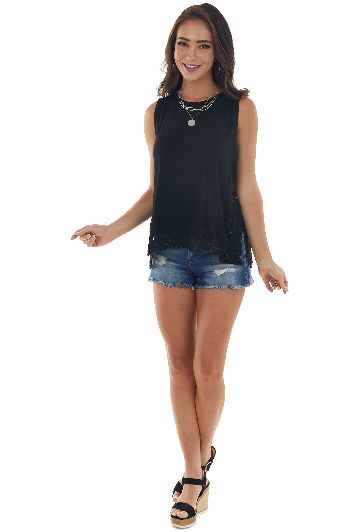 Black Tank Top with Sheer Crochet Lace Details