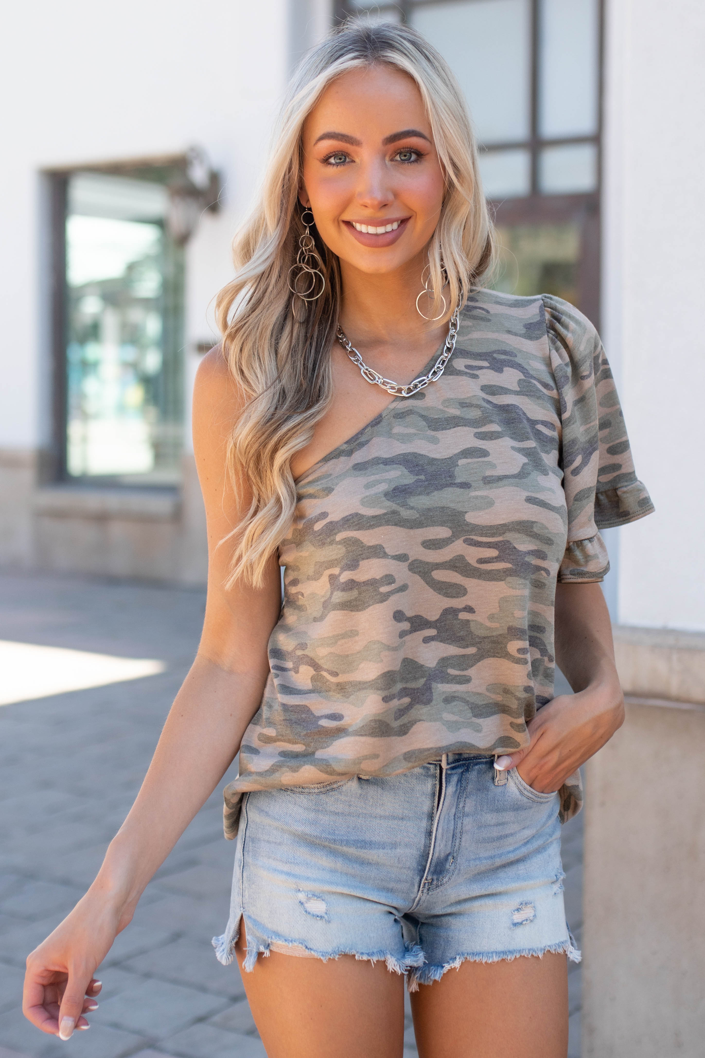 Army Green Camo Print One Shoulder Knit Top