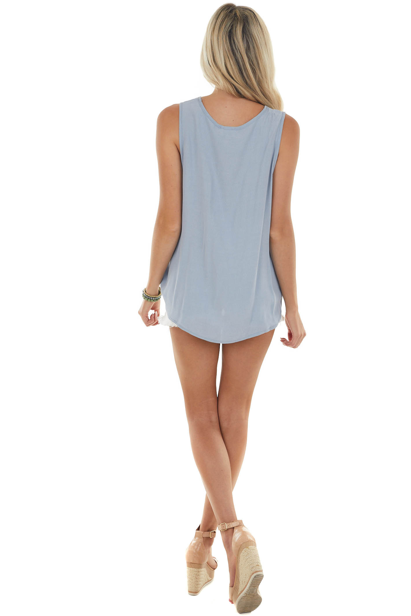 Powder Blue Surplice Tank Top with Cut Out