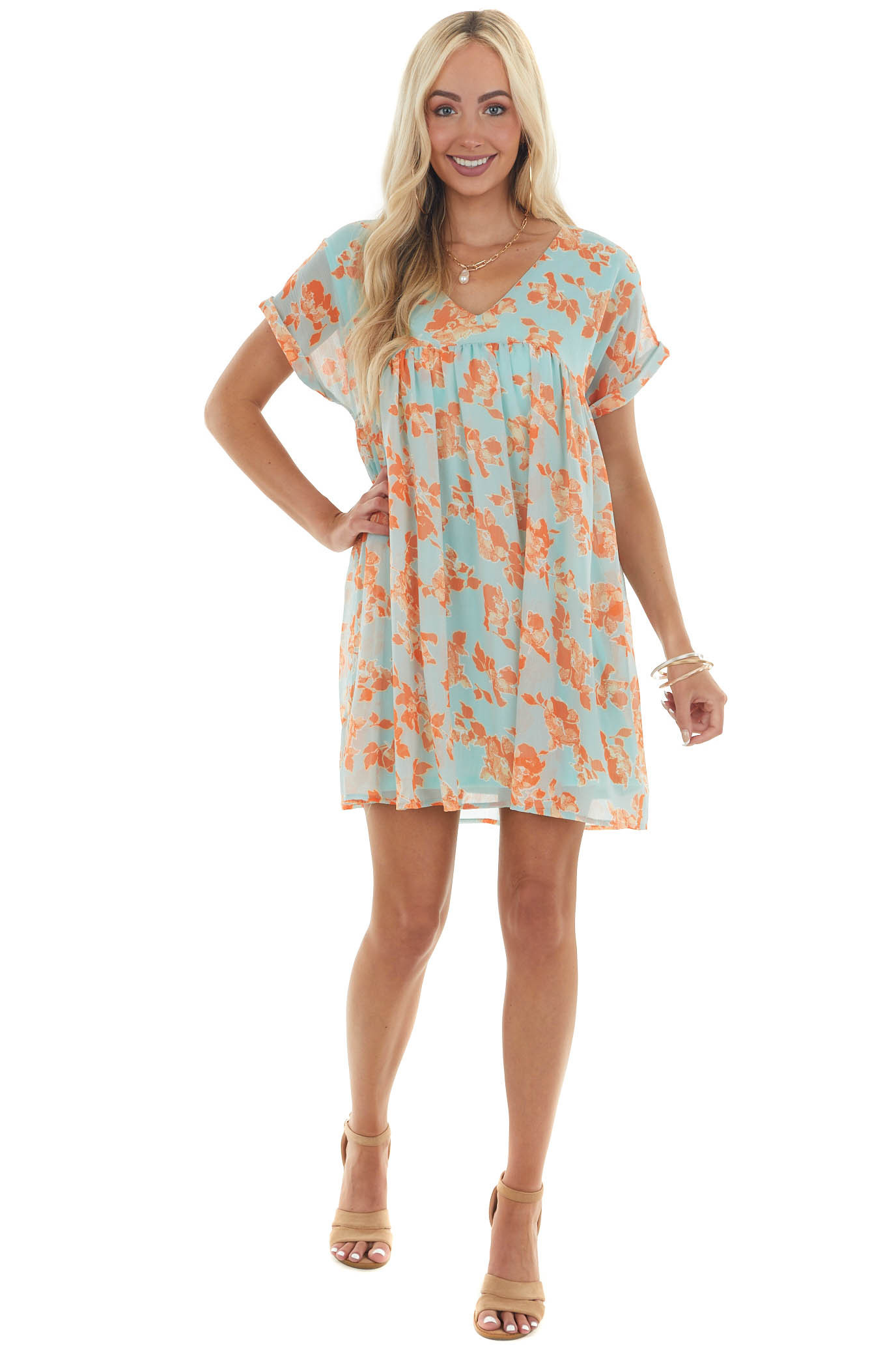 Aqua and Sunset Floral Babydoll Woven Dress