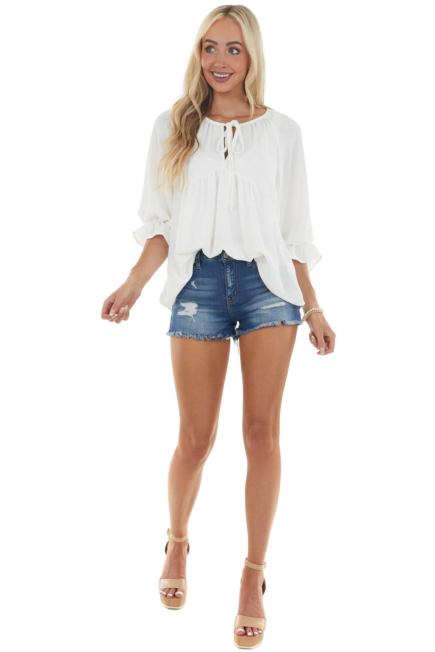 Ivory Babydoll V Neck Blouse with Tie Detail