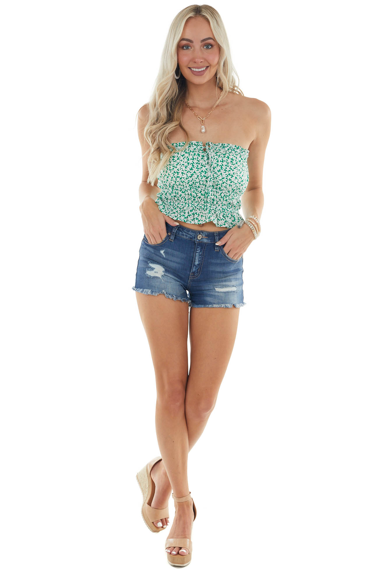 Jade Green Ditsy Floral Strapless Crop Top