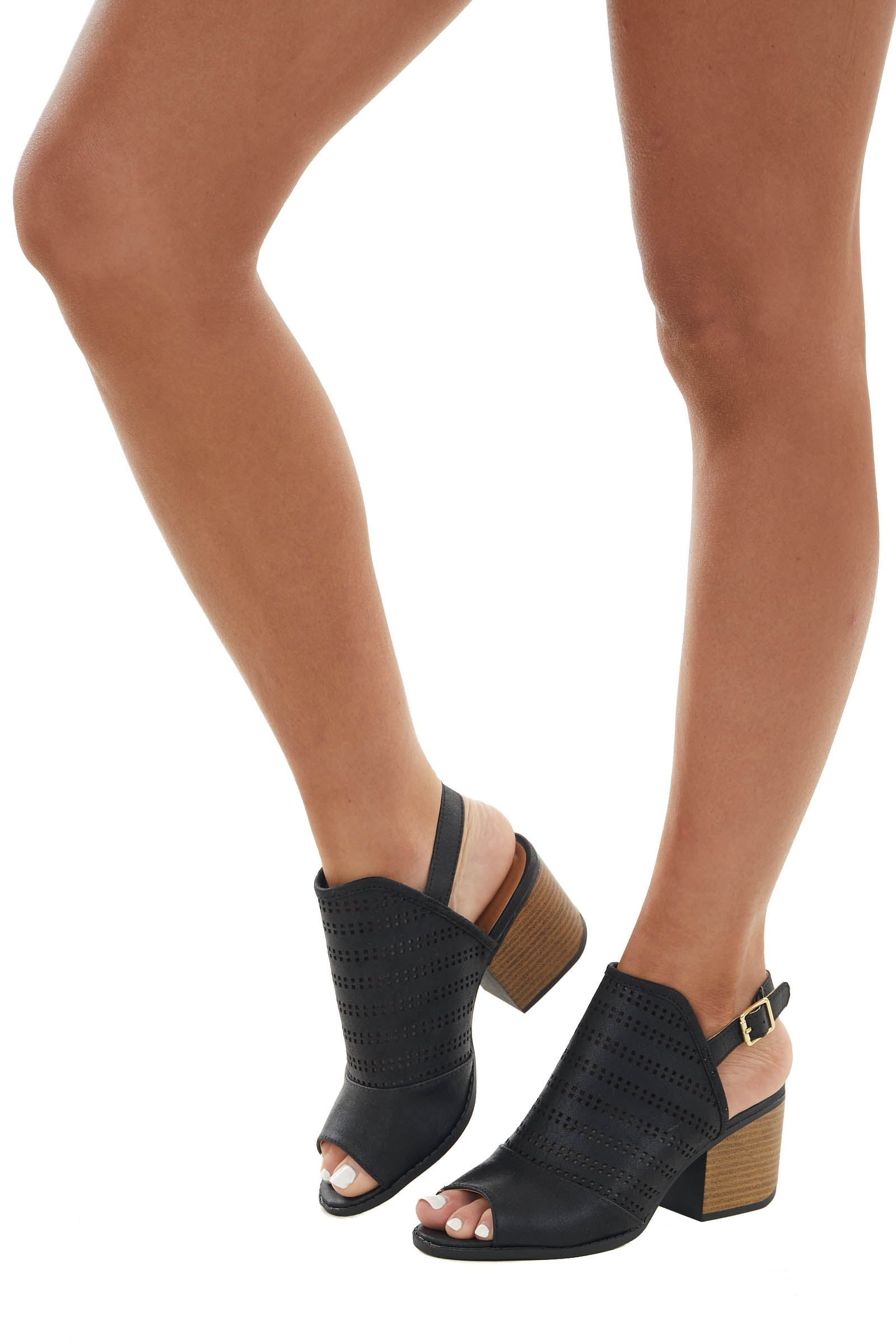 Black Open Toe Stacked Heels with Cut Out