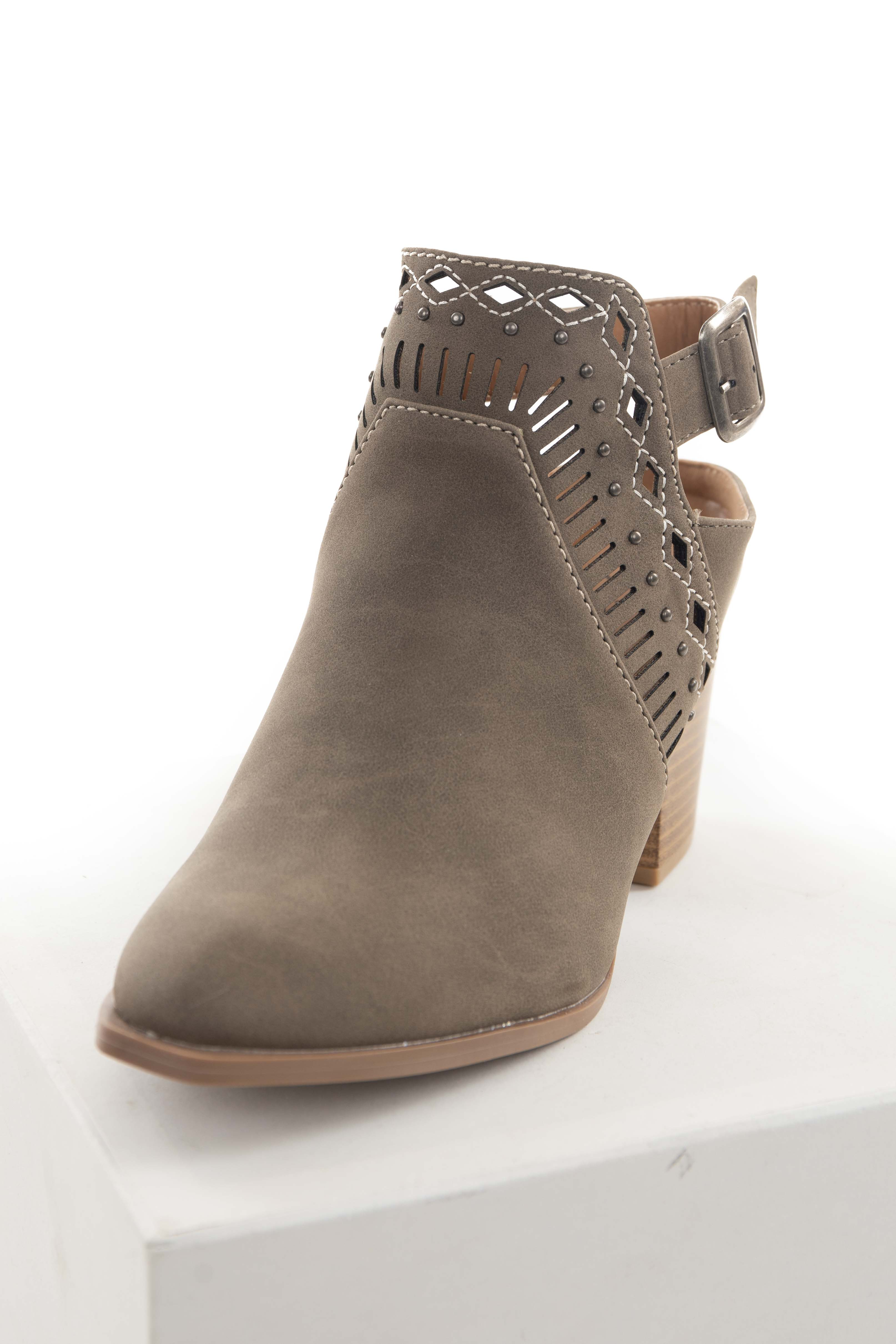 Taupe Closed Toe Booties with Studs